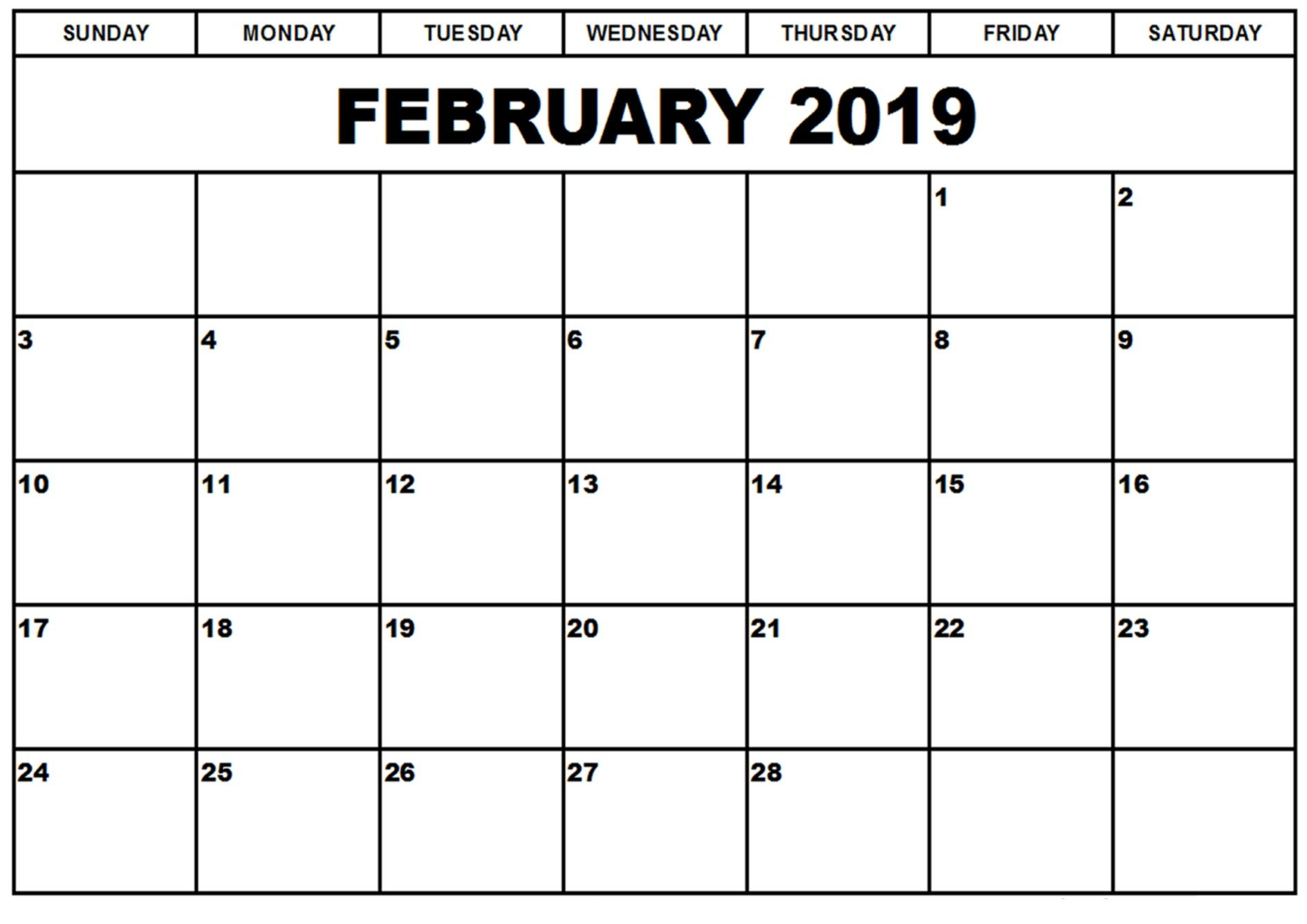 February 2019 Calendar #february #february2019 #february2019Calendar with regard to 12 Month Monthly Calendar Template Printable