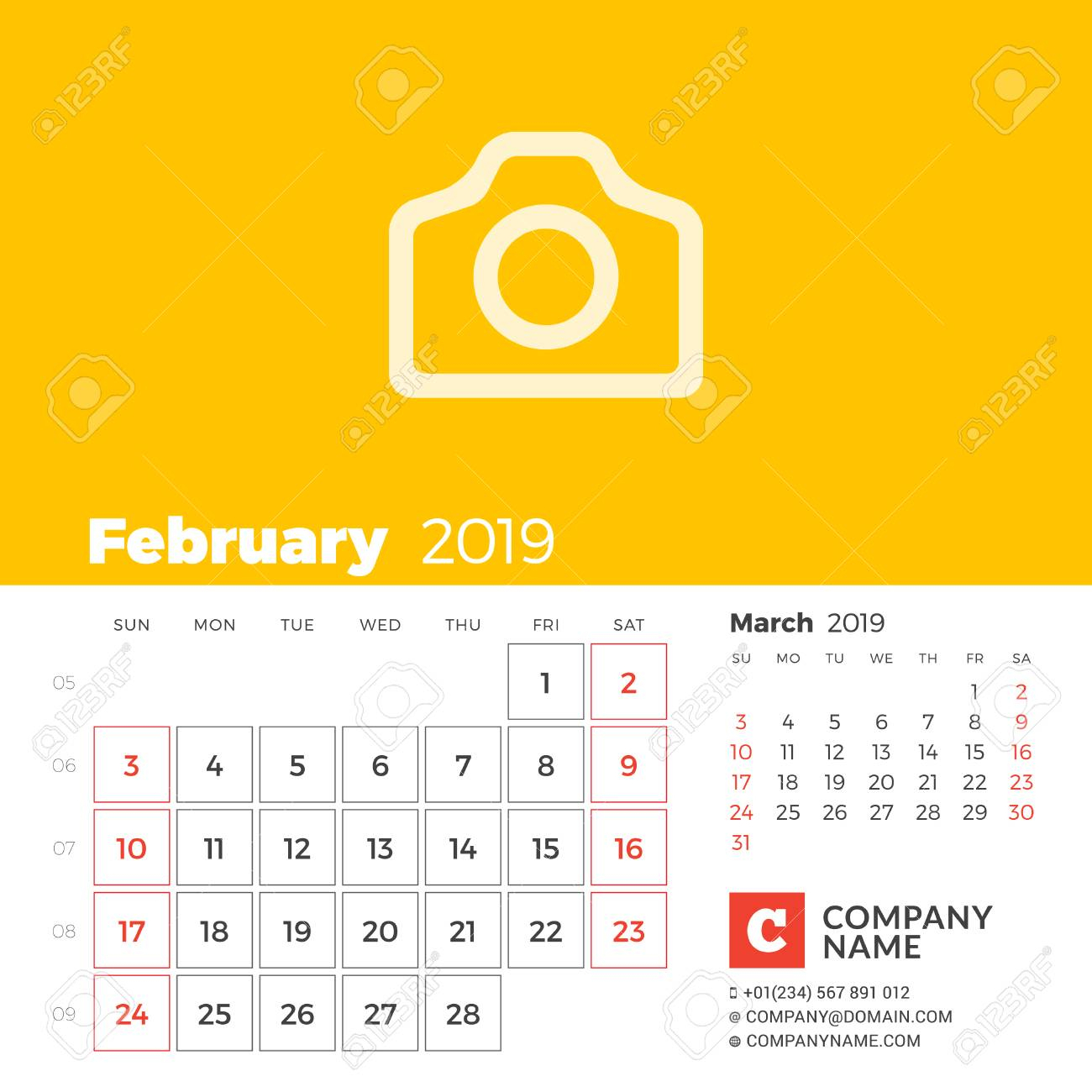 February 2019. Calendar For 2019 Year. Week Starts On Sunday. 2 Months On  Page. Vector Design Print Template With Place For Photo And Company with regard to 2 Week Schedule Template Mon- Sunday