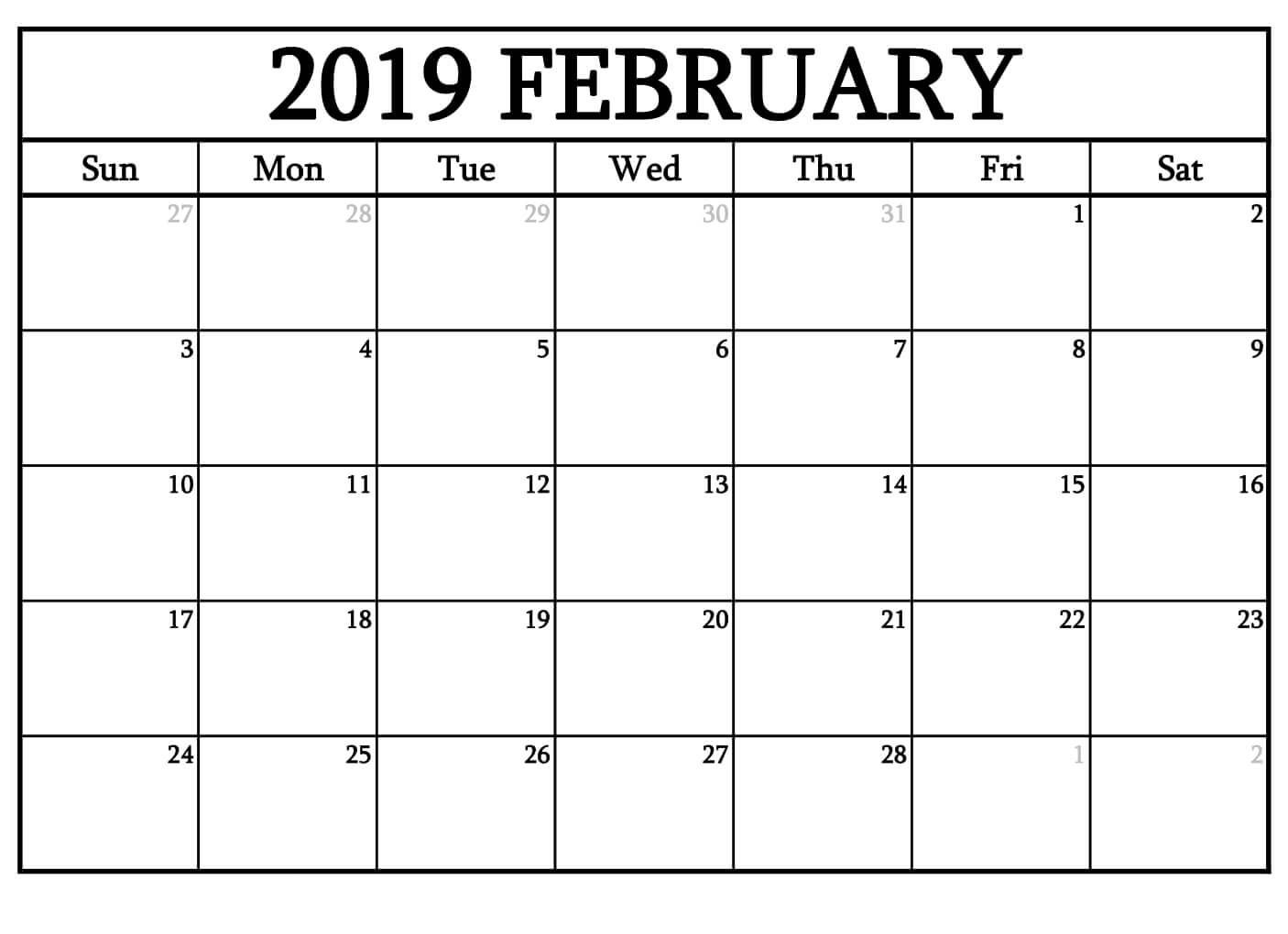 February 2019 Calendar For Academic Template | Free Printable regarding February Calendar Printable Template Blank