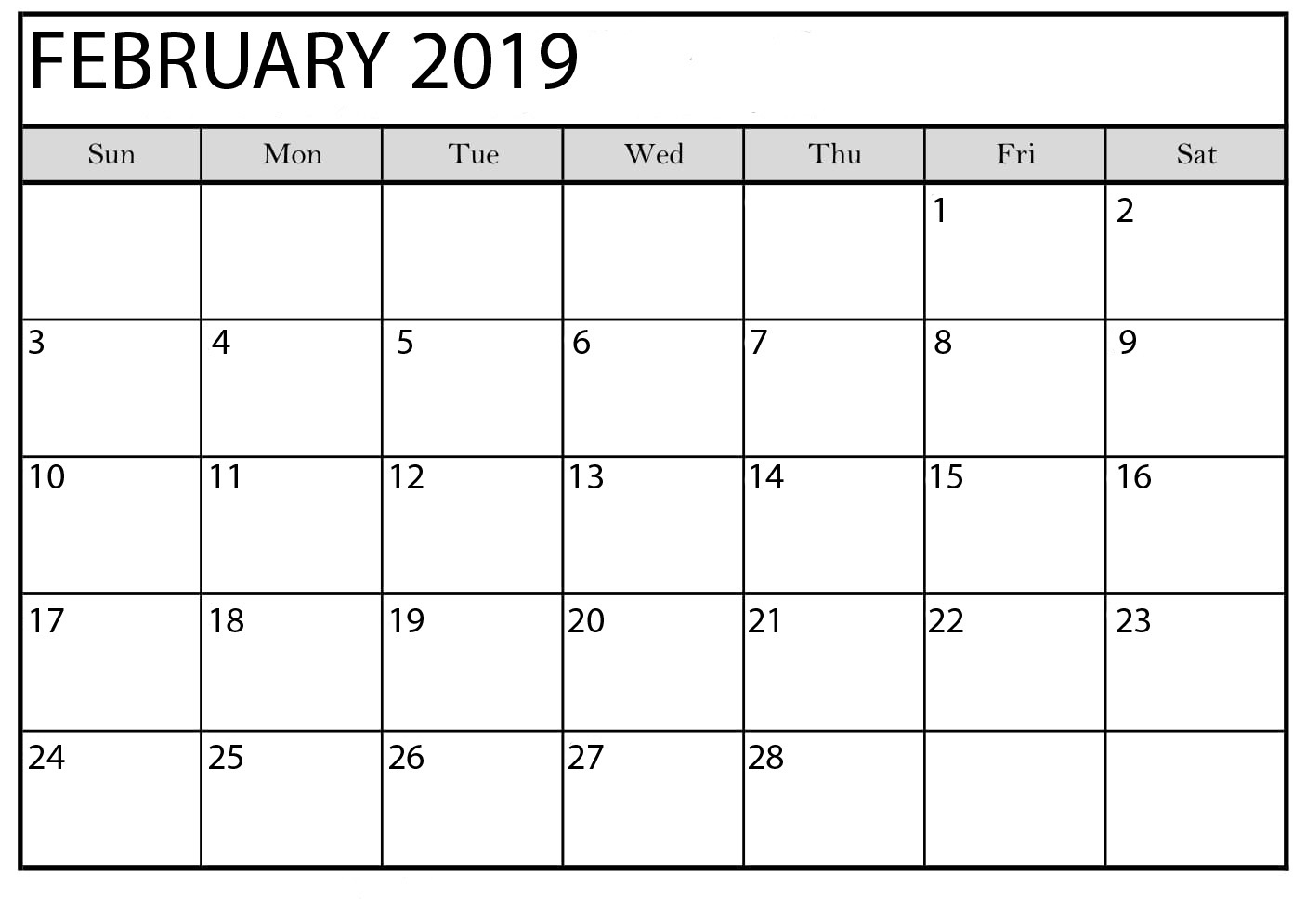February 2019 Calendar Printable Editable - Free Printable Calendar intended for February Calendar Printable Template Blank
