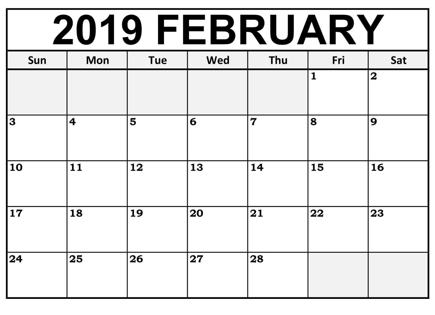 February 2019 Calendar Printable Editable - Free Printable Calendar throughout February Calendar Printable Template Blank