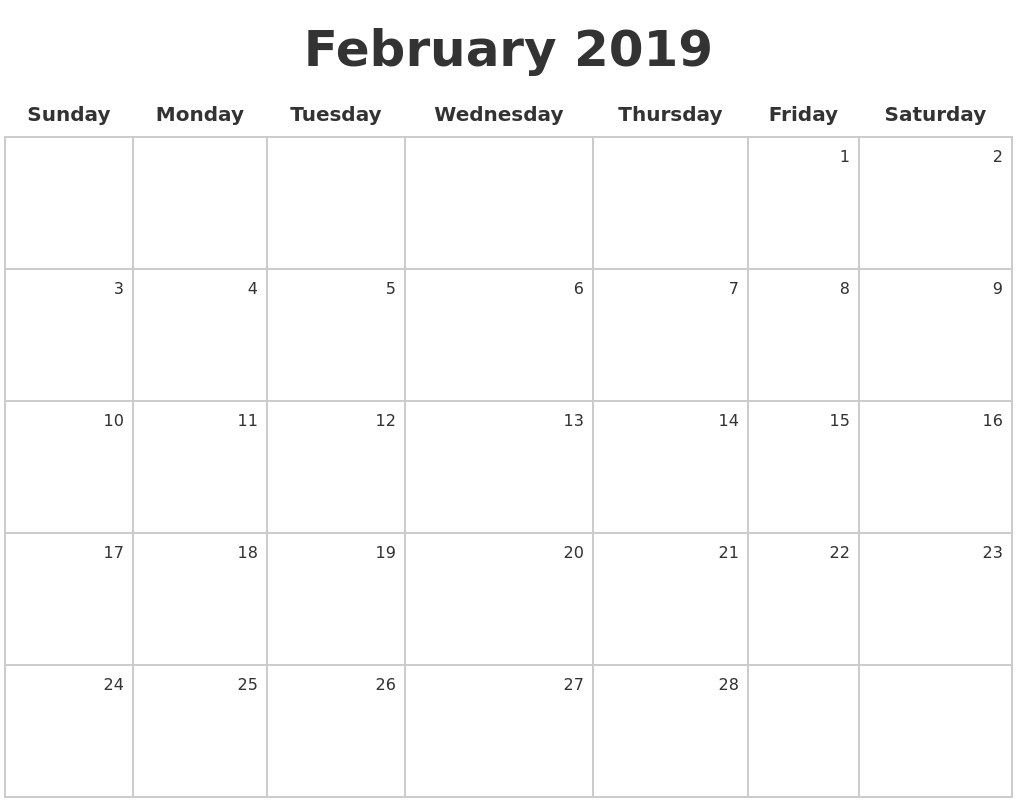 February 2019 Calendar Printable Template - Printable Calendar Templates in February Calendar Printable Template Blank