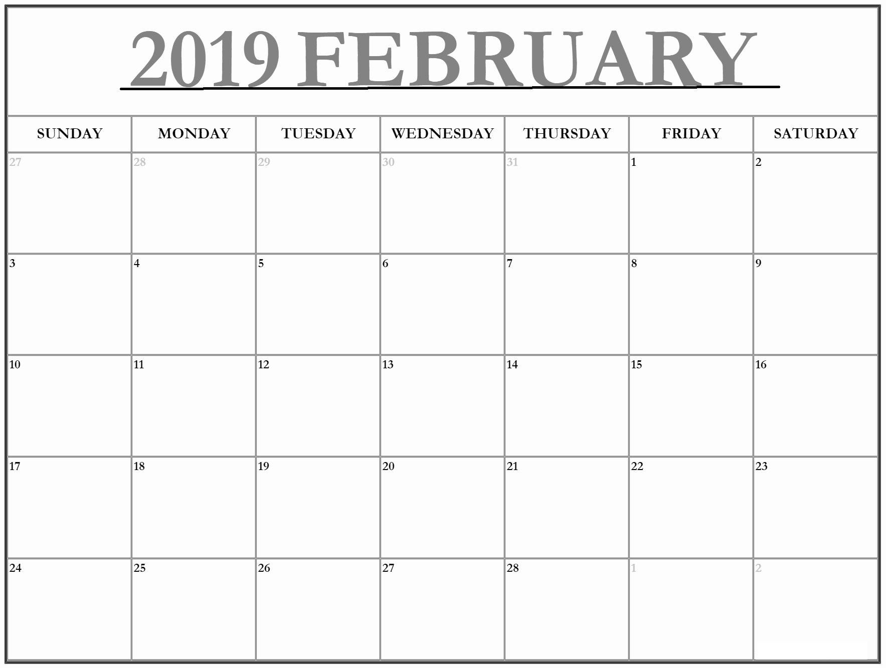 February 2019 Calendar Template Large   February 2019 Calendar throughout Large Blank Monthly Calendars January Printable