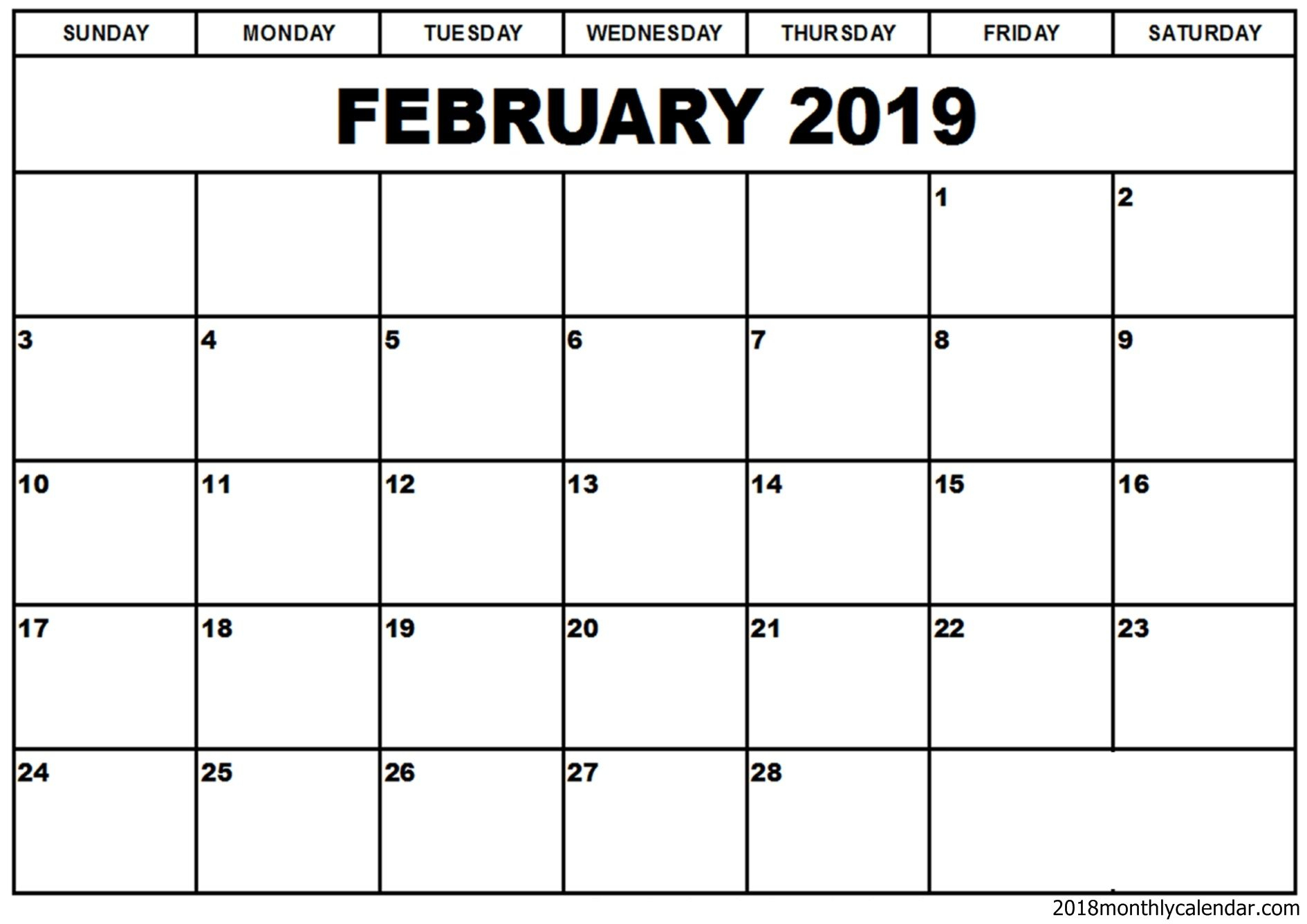 February 2019 Calendar Word Template | Free Printable Monthly with Blank Printable Calendar Pages