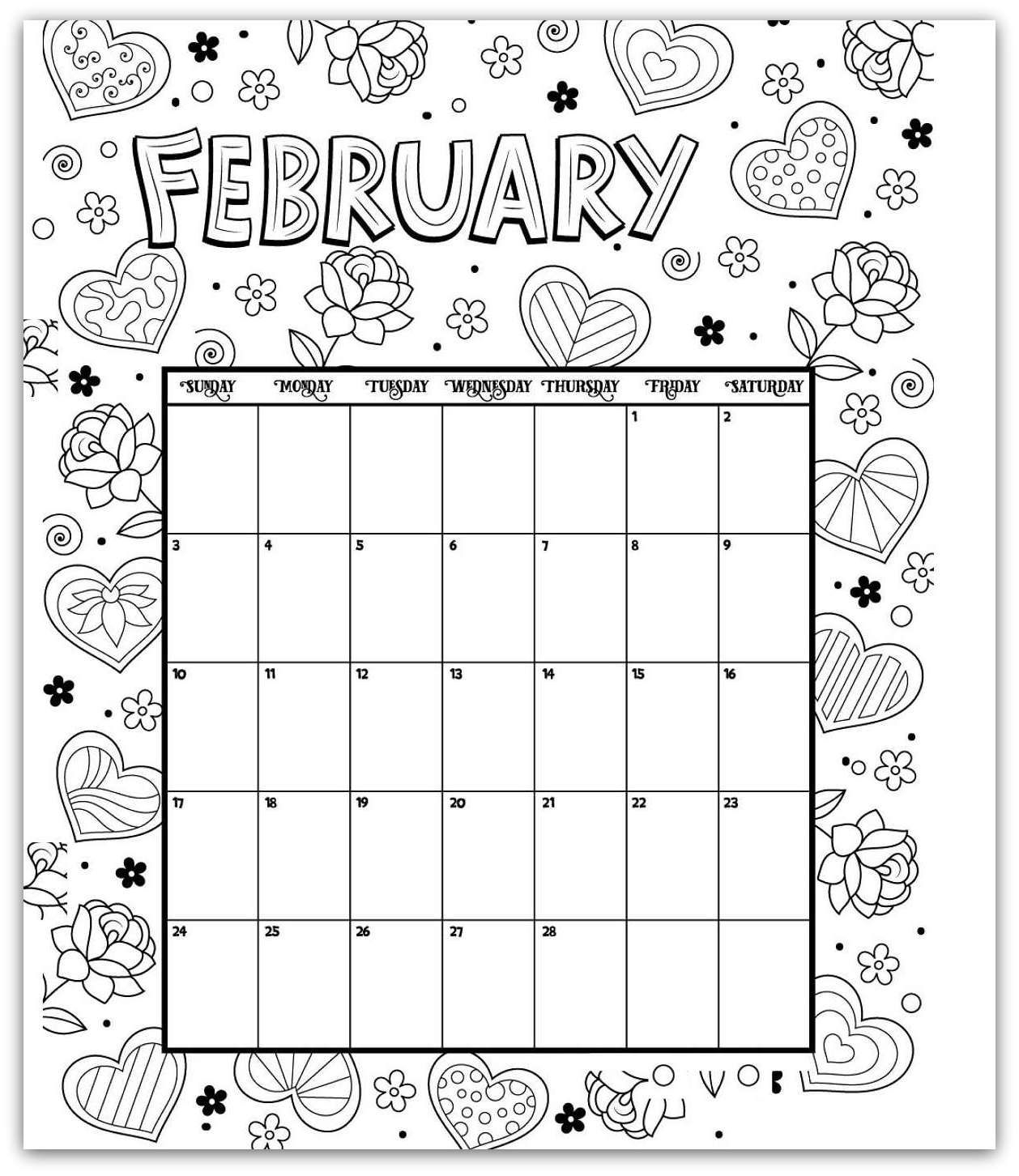 February 2019 Coloring Page Printable Calendar | 2019 Calendars throughout Coloring Pages October Calendar 2019 Adults