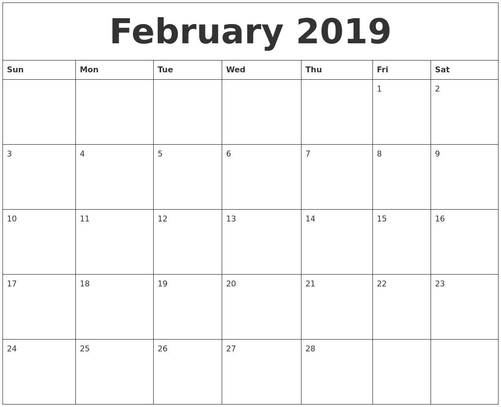 February 2019 Editable Calendar Template within Calendar Template Fillable Pdf