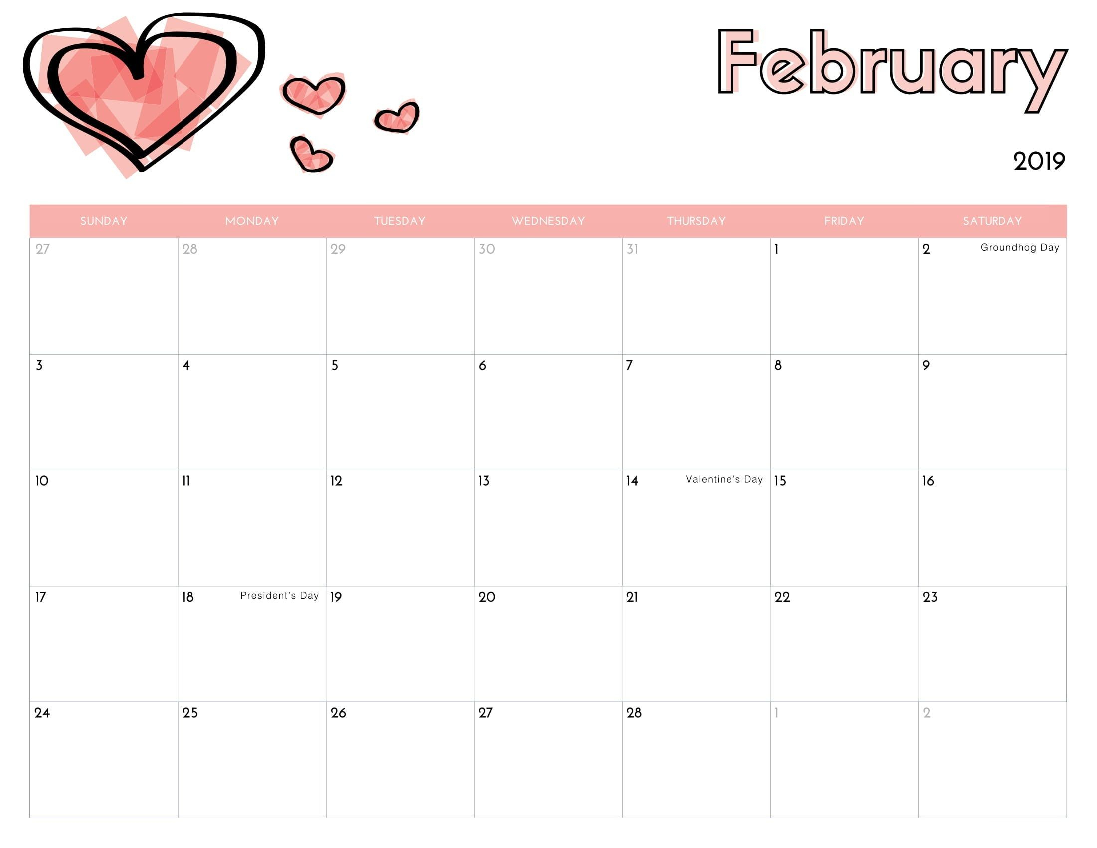 February 2019 Printable Calendar Bold Font | Free Printable February for Blank Bold December Calendar