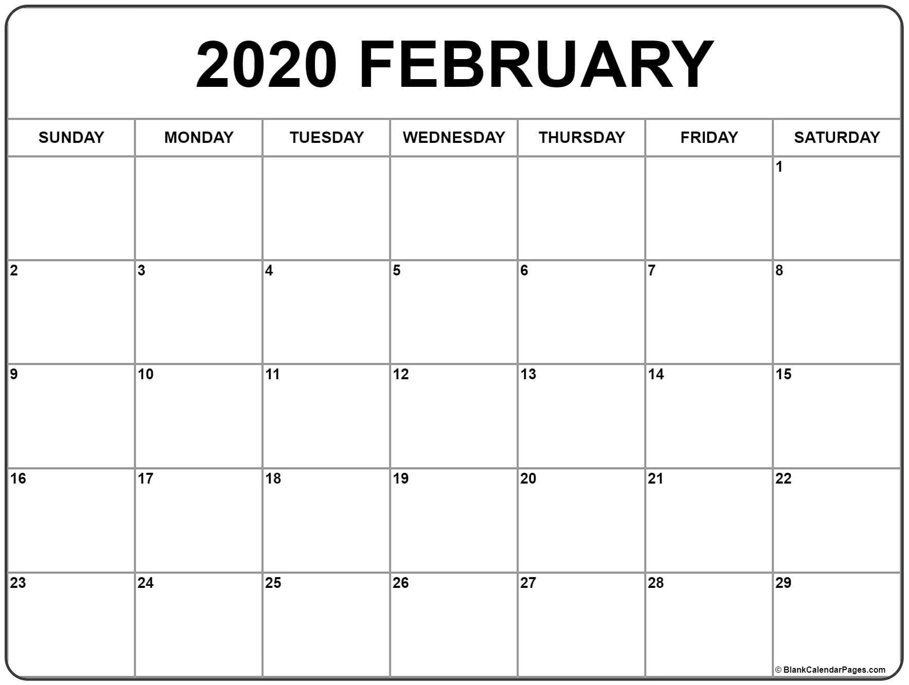 February 2020 Calendar   Free Printable Monthly Calendars regarding Blank 2020 Calendar Starting On Saturday Printable Free
