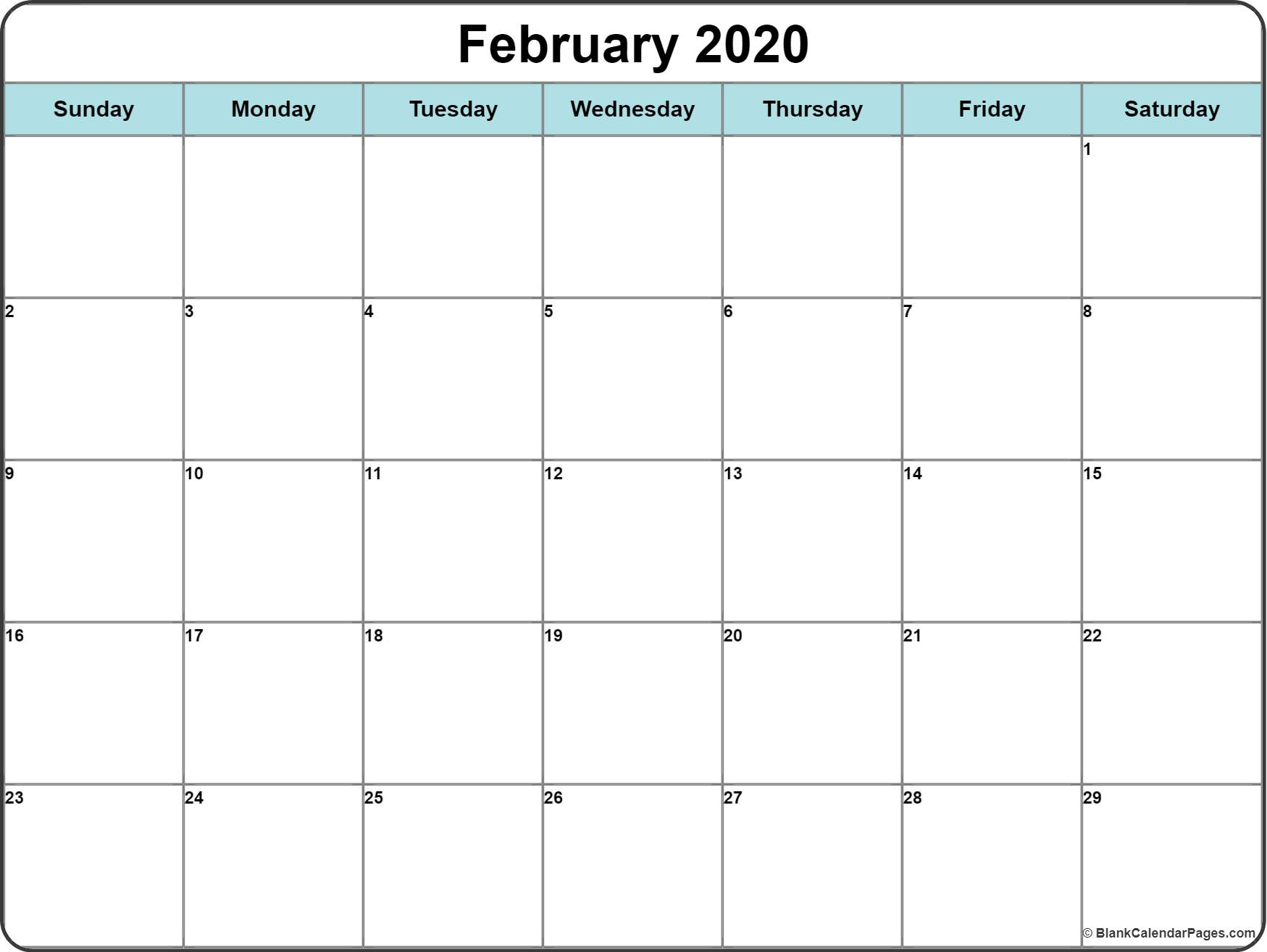 February 2020 Calendar | Free Printable Monthly Calendars regarding Free Printable 2020 Calendar With Space To Write