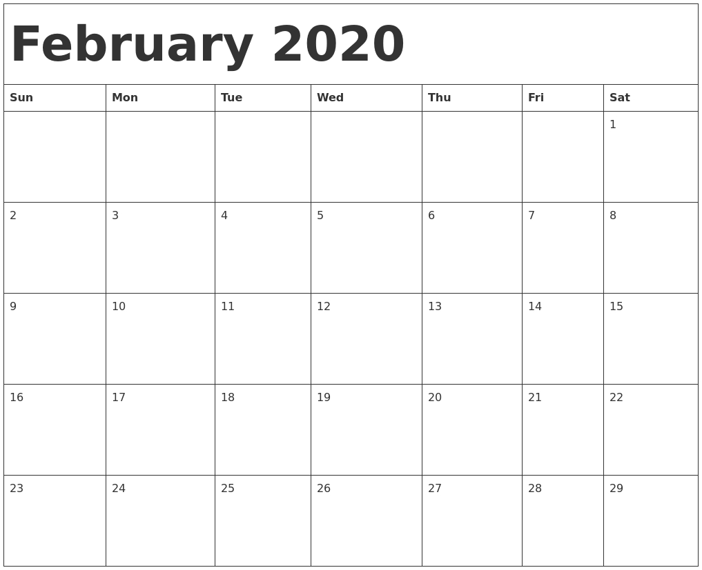 February 2020 Calendar Template throughout Calender 2020 Template Monday To Sunday