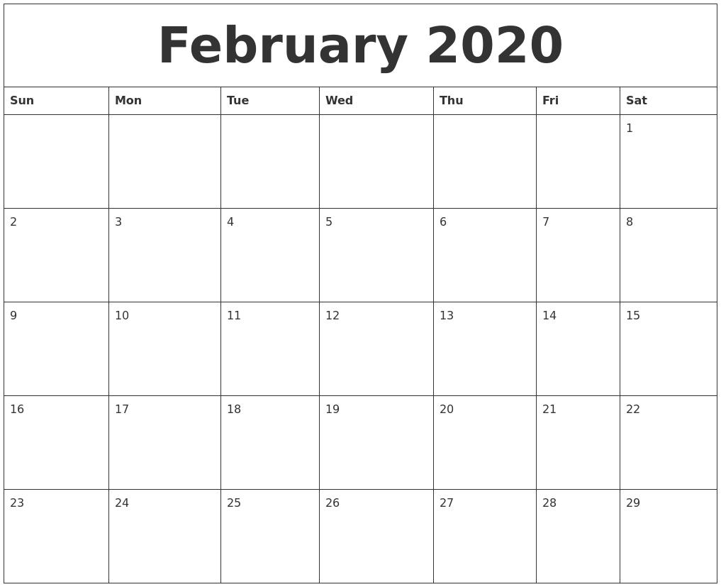 February 2020 Editable Calendar Template throughout Free Fillable Blank Calendar Templates