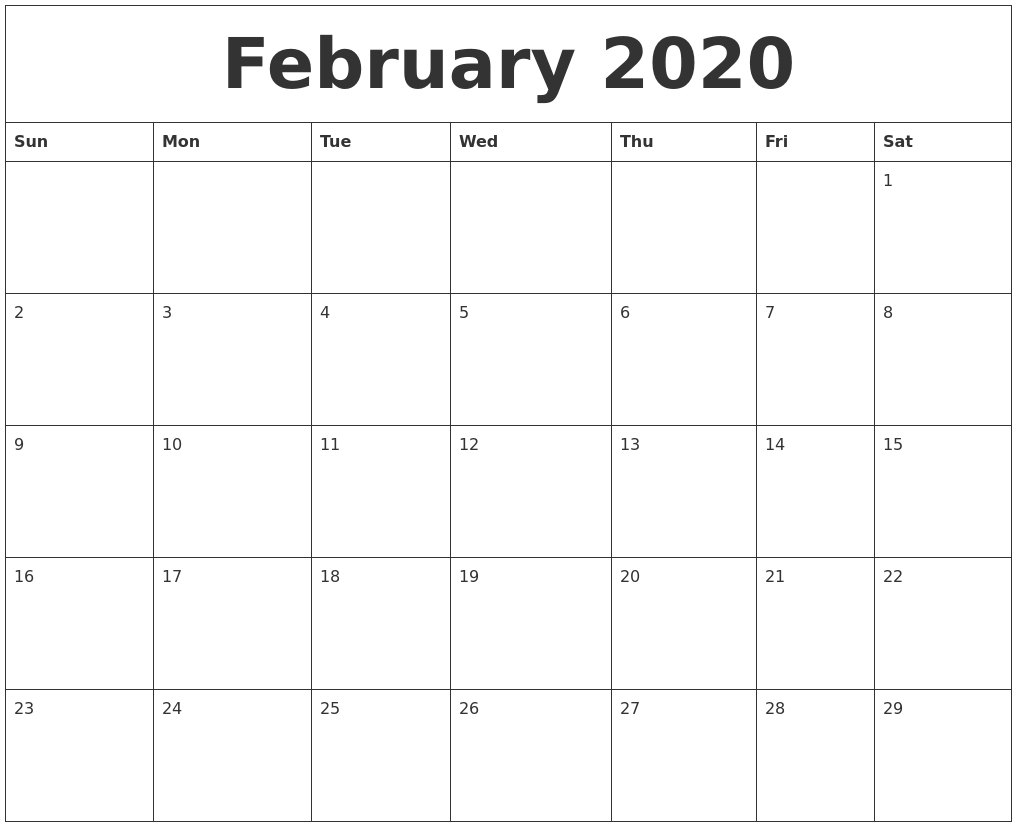 February 2020 Free Printable Calendar Templates within Free Template 2020 Sunday To Saturday Calendar