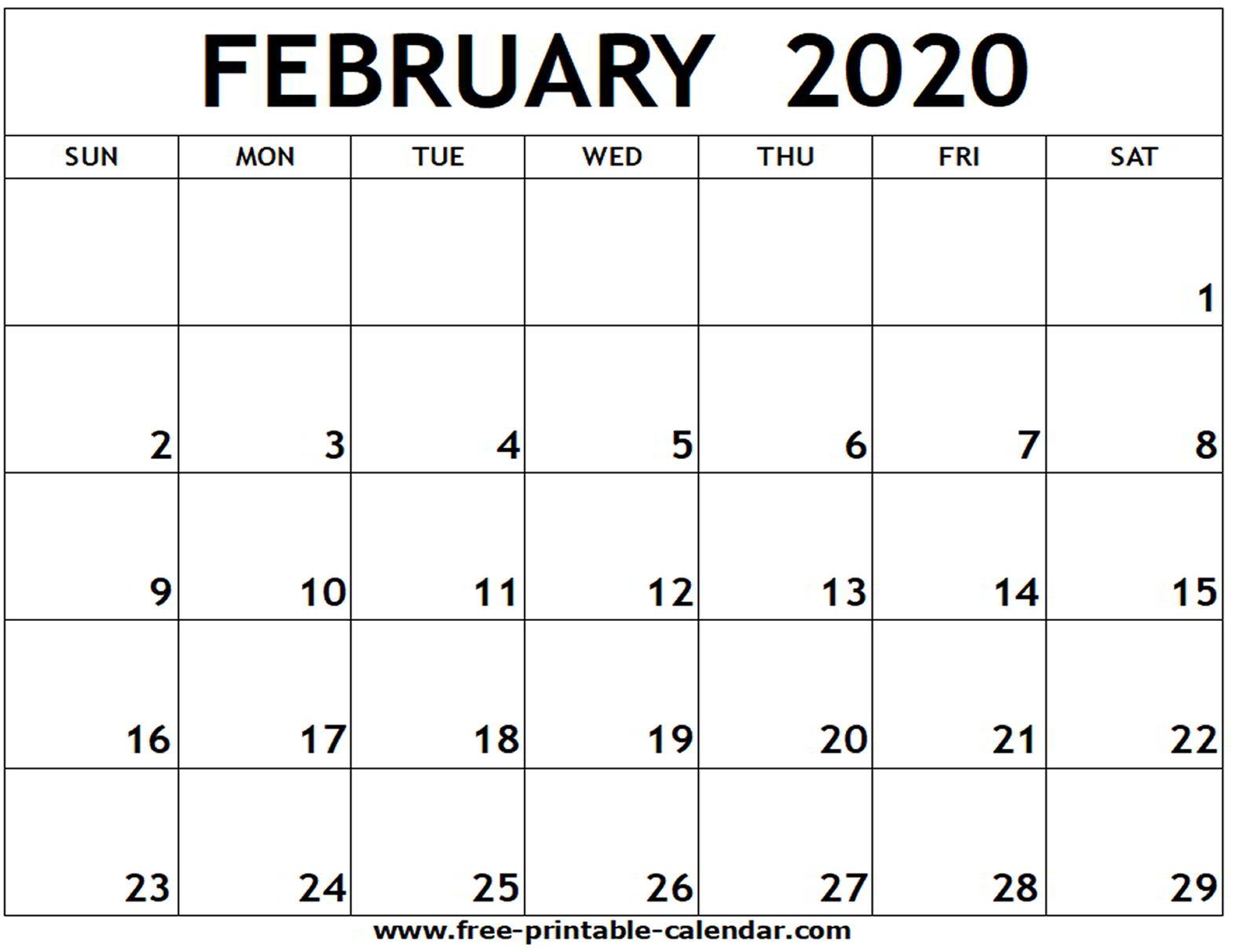 February 2020 Printable Calendar - Free-Printable-Calendar with 2020 Calendar I Can Edit