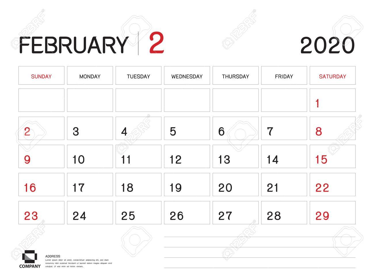 February 2020 Year Template, Calendar 2020 Vector, Desk Calendar.. with Blank Calendar 6 Weeks Start On Sunday