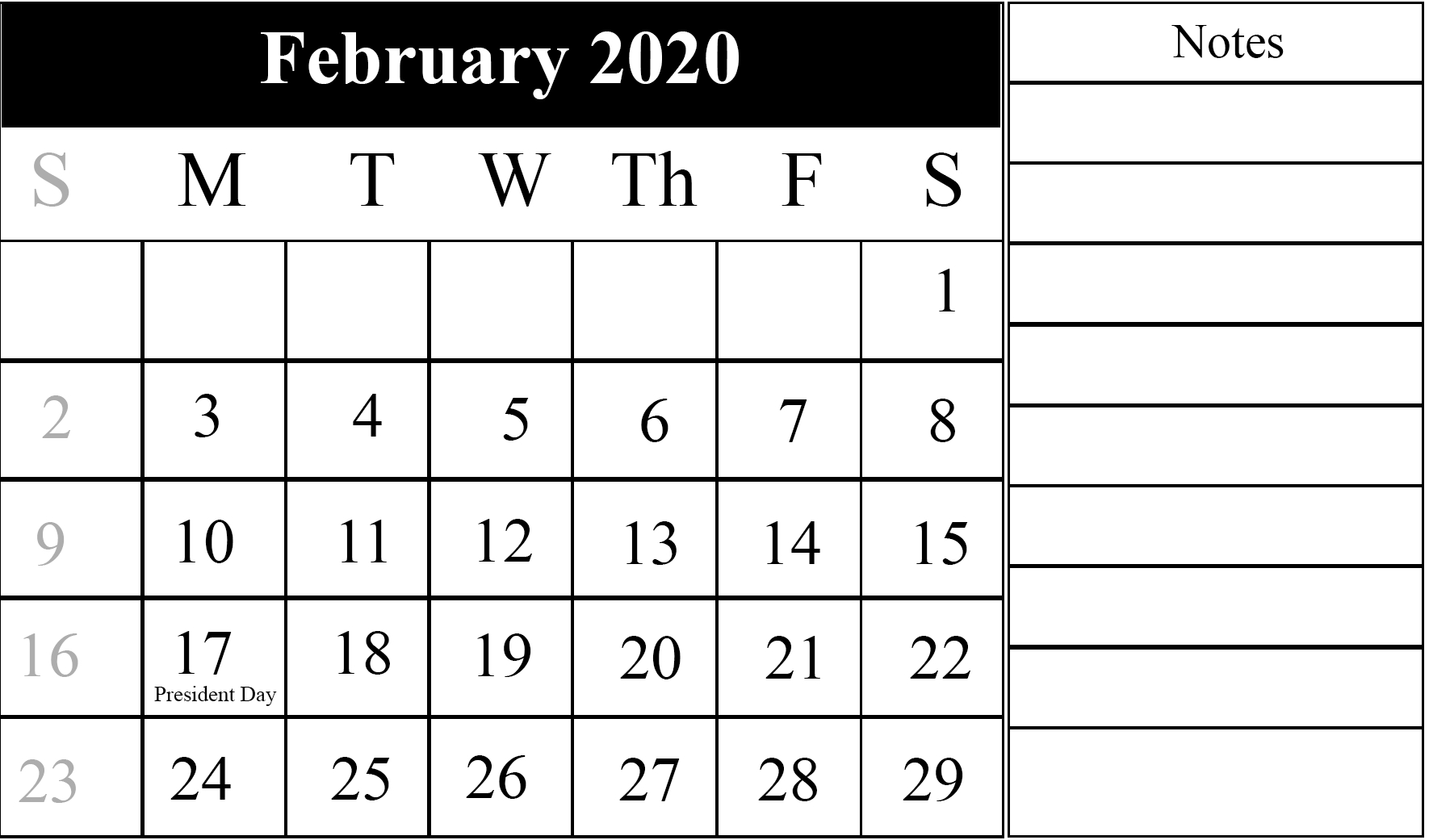 February Calendar 2020 Free Printable Template Pdf Word Excel pertaining to 2020Free Printable Calendars Without Downloading