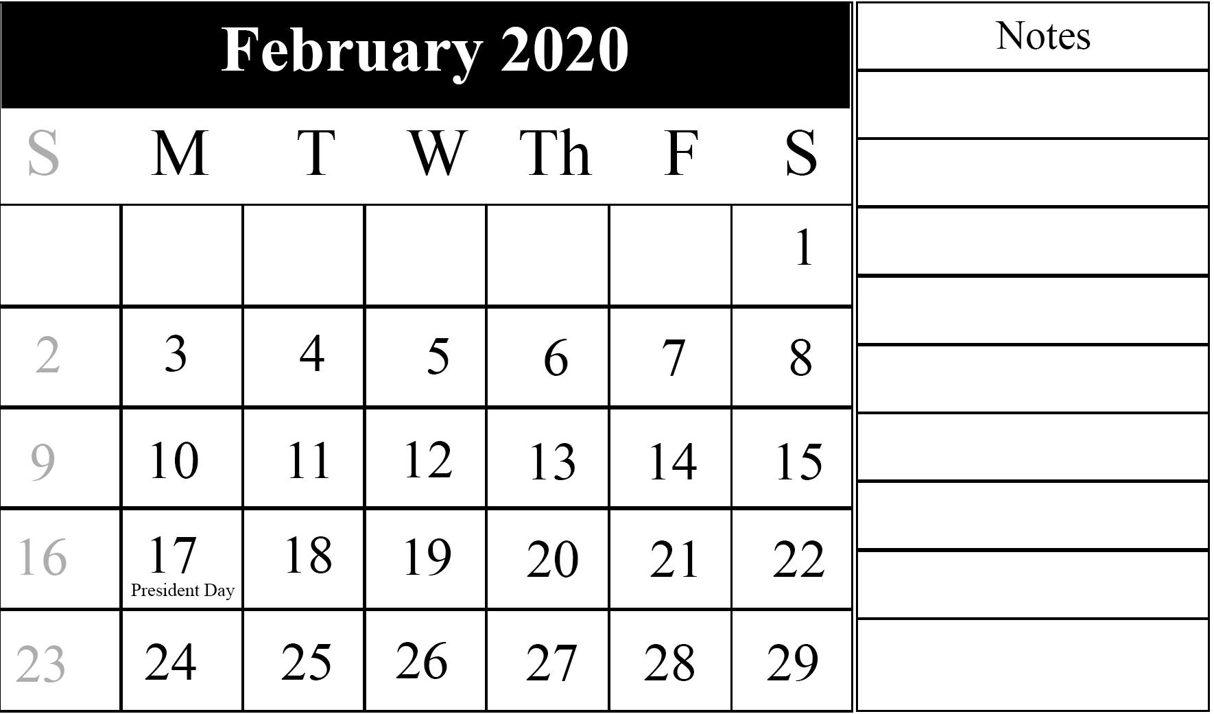 February Calendar 2020 Free Printable Template Pdf Word Excel pertaining to Employee Attendance Calendar 2020 Prntable