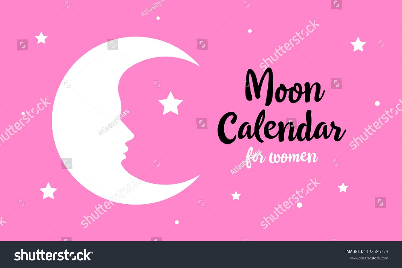 Female Silhouette Moon Template Lunar Calendar Stock Vector (Royalty for Template For Lunar Calendar