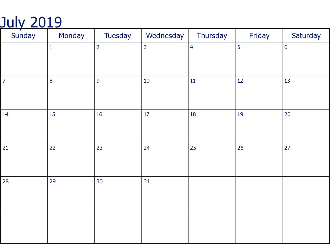 Fillable Blank July 2019 Calendar Printable Template - Free pertaining to Free Fillable Blank Calendar Templates
