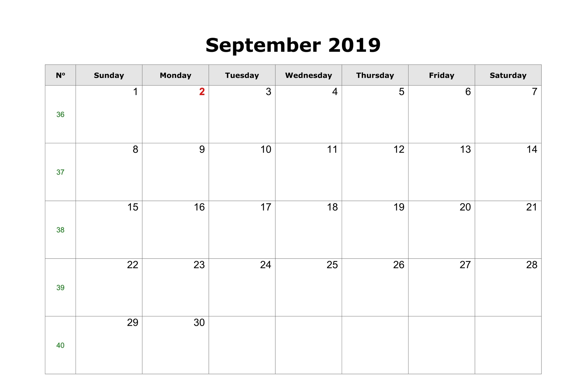 Fillable Calendar For September 2019 Printable Blank Template With Notes within Editable October 2019 Calendar With Religious Holidays
