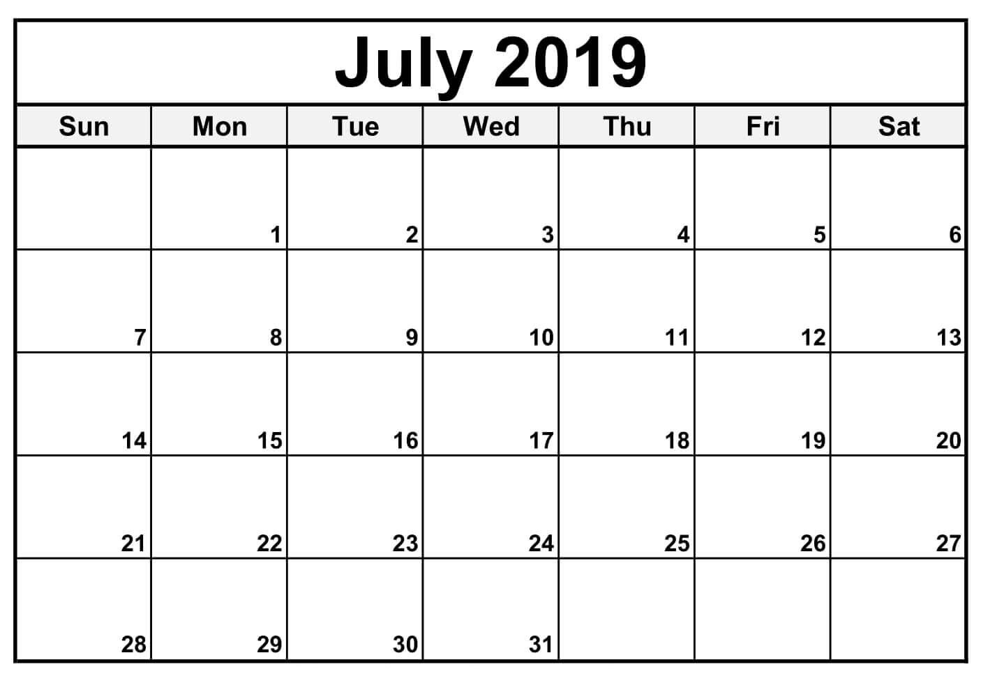 Fillable June 2019 Calendar Printable - Free Printable Calendar with regard to Free Fillable Blank Calendar Templates