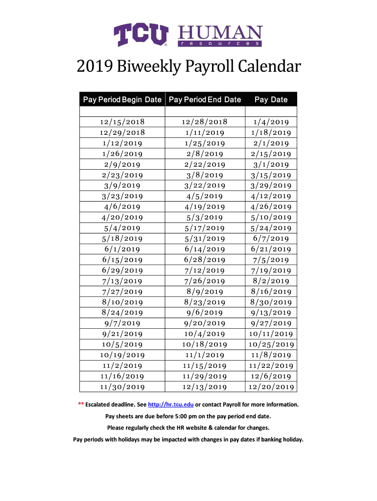 Fillable Online 2019 Biweekly Payroll Calendar Fax Email Print with regard to Biweekly Payroll Schedule Template