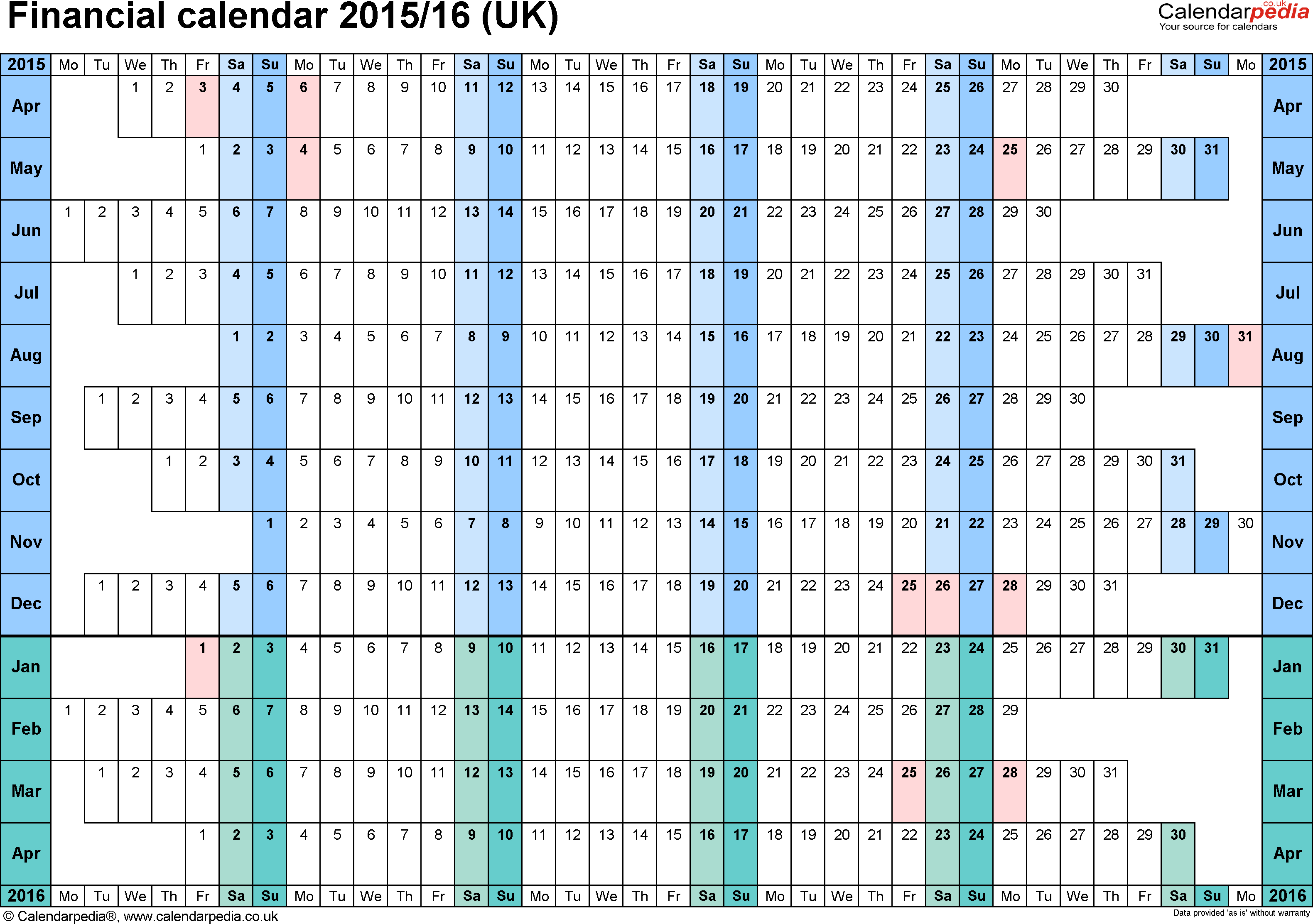 Financial Calendars 2015/16 (Uk) In Microsoft Word Format for Hmrc Tax Weekly Calander 2019-2020