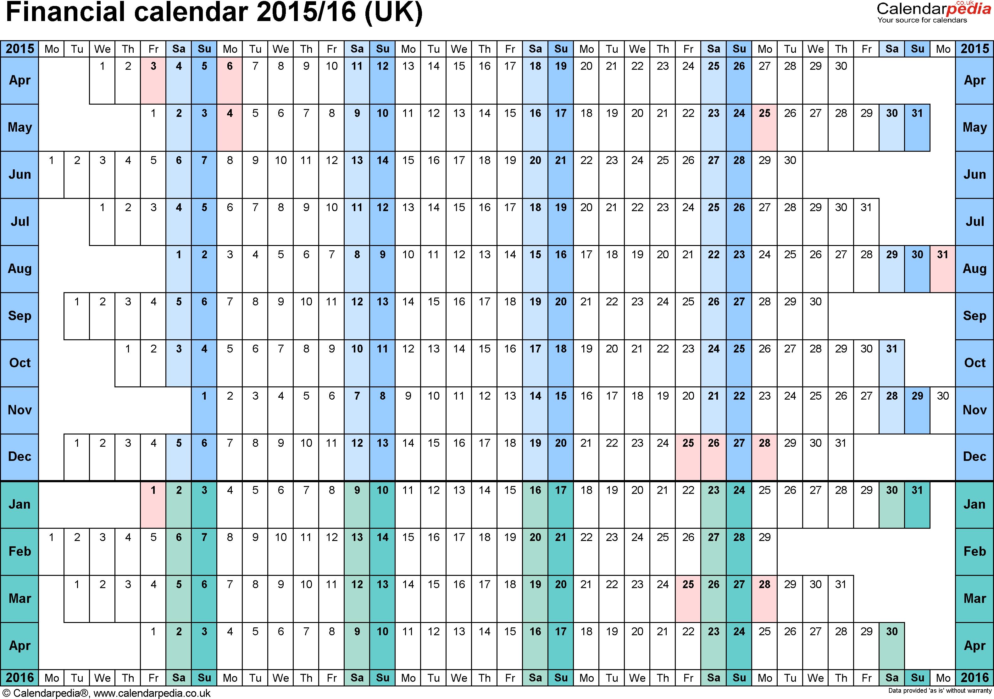 Financial Calendars 2015/16 (Uk) In Pdf Format pertaining to Hmrc Tax Week Calendar 2019 2020