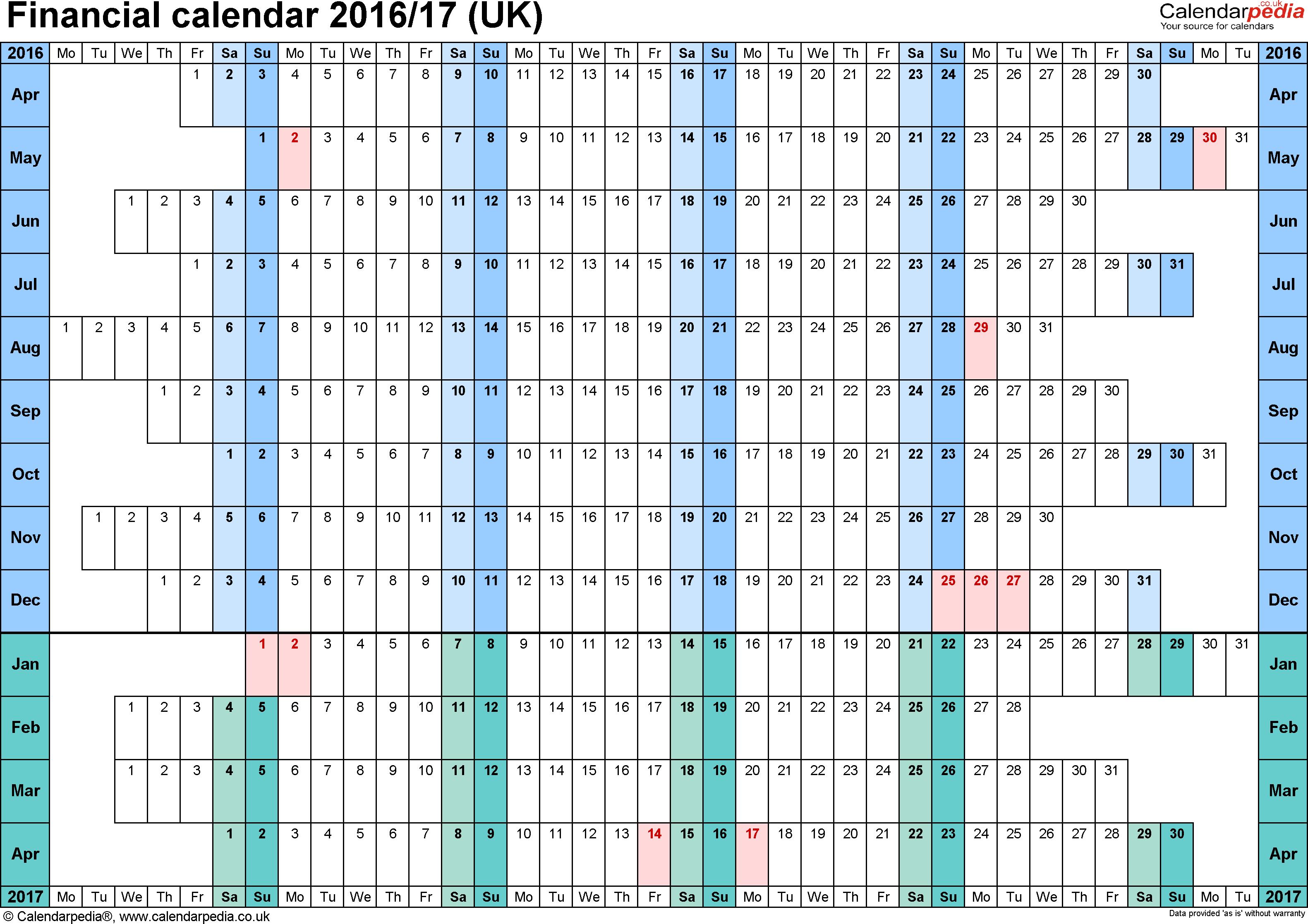 Financial Calendars 2016/17 (Uk) In Microsoft Word Format in Hmrc Tax 2019 - 2020 Calendars