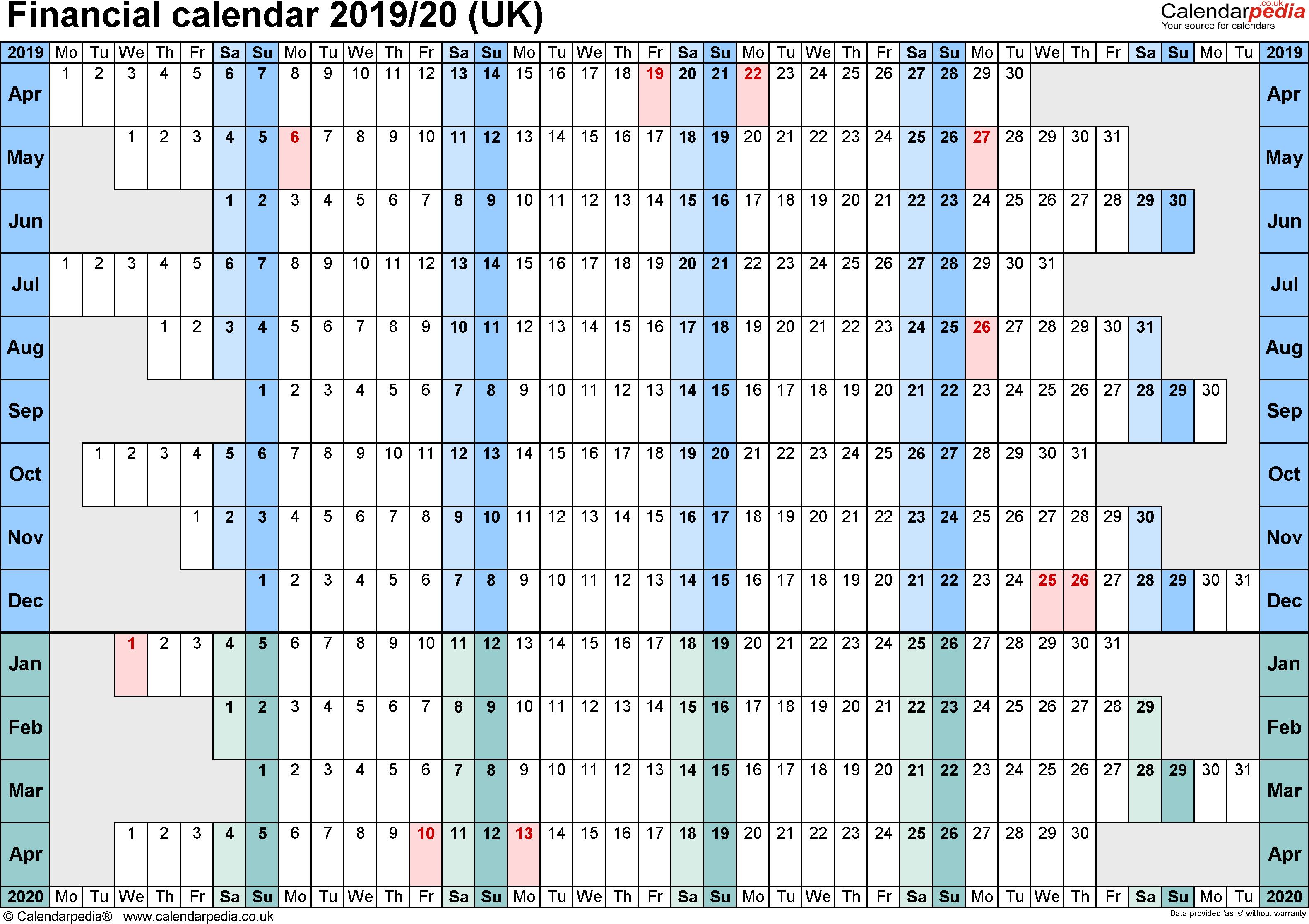 Financial Calendars 2019/20 (Uk) In Pdf Format inside Hmrc Tax Weekly Calander 2019-2020