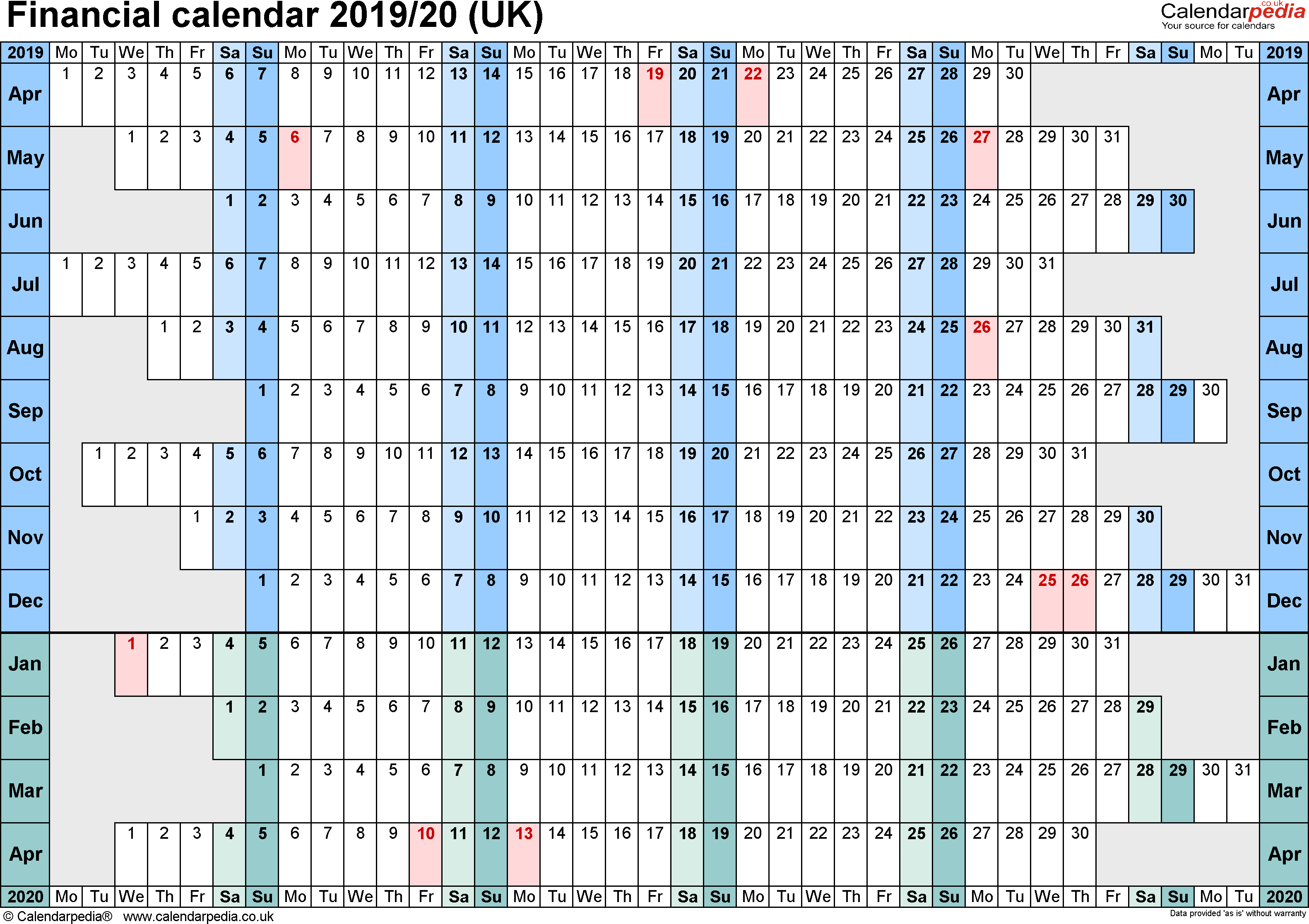 Financial Calendars 2019/20 (Uk) In Pdf Format intended for Financial Calendar 2019/2020 With Week Numbers