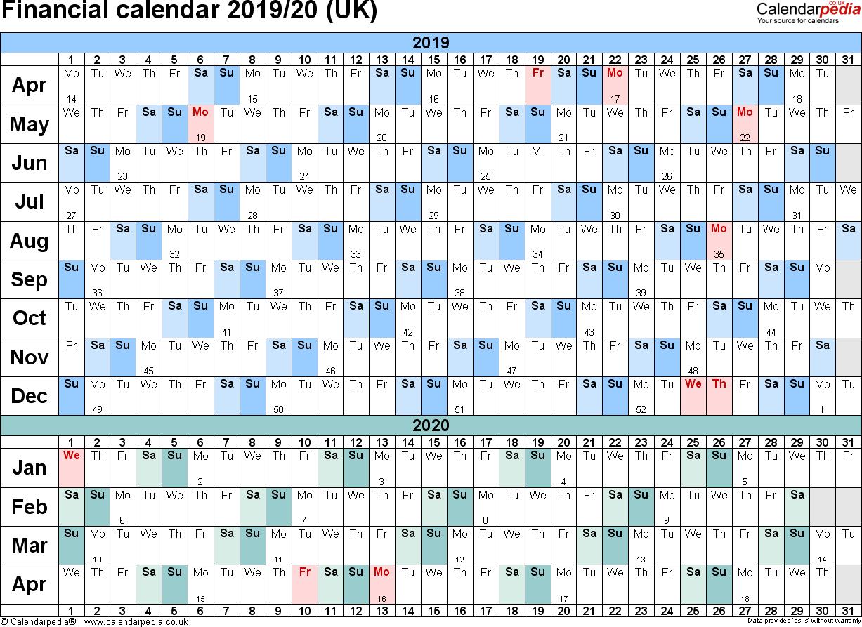 Financial Calendars 2019/20 (Uk) In Pdf Format throughout 2019-2020 Calendar Financial Week Numbers