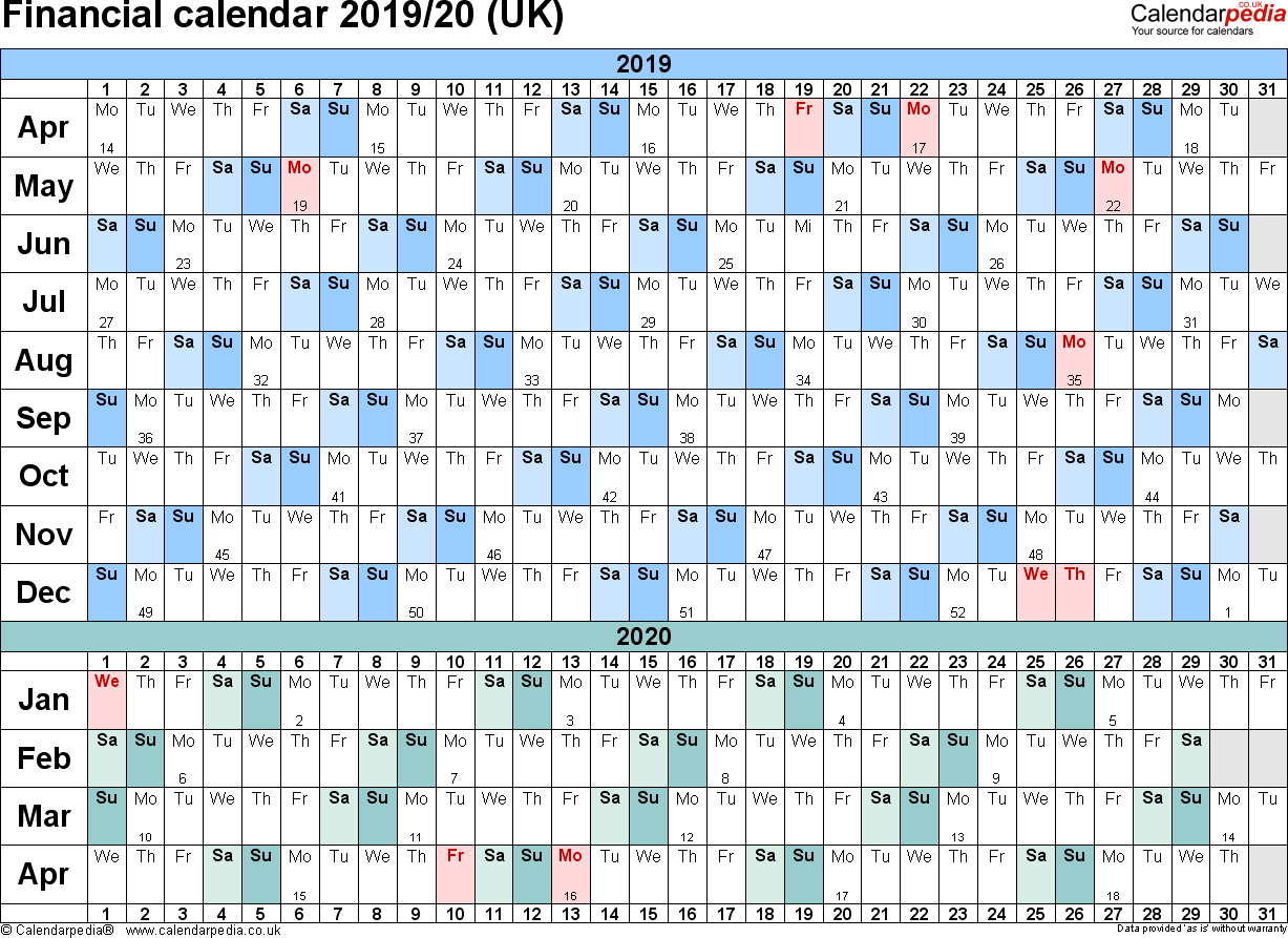 Financial Calendars 2019/20 (Uk) In Pdf Format with Hmrc Tax Weekly Calander 2019-2020