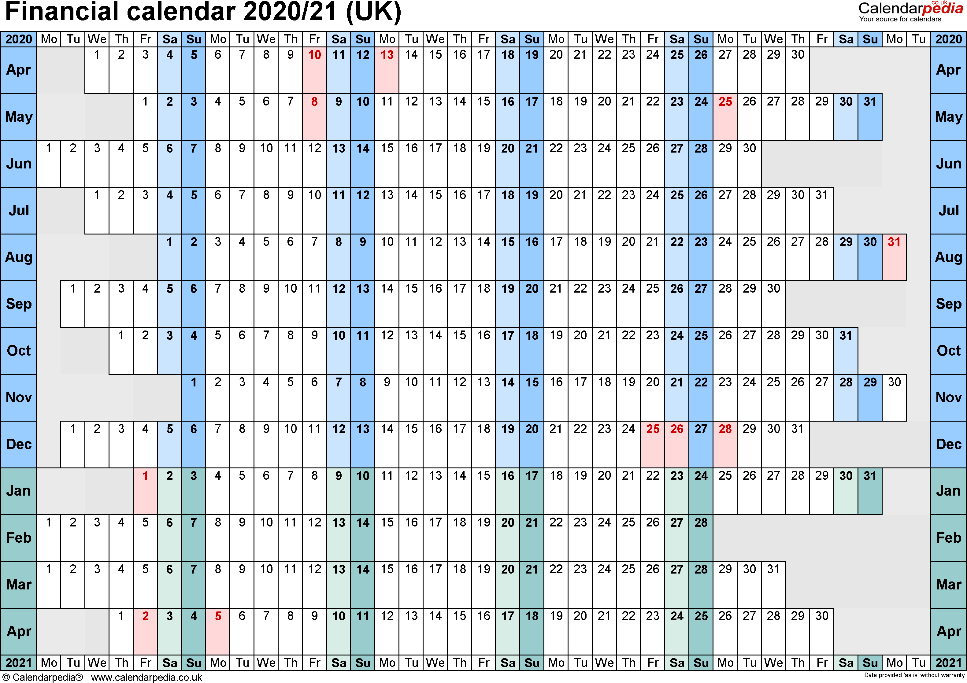 Financial Calendars 2020/21 (Uk) In Pdf Format for Hmrc Tax Weekly Calander 2019-2020