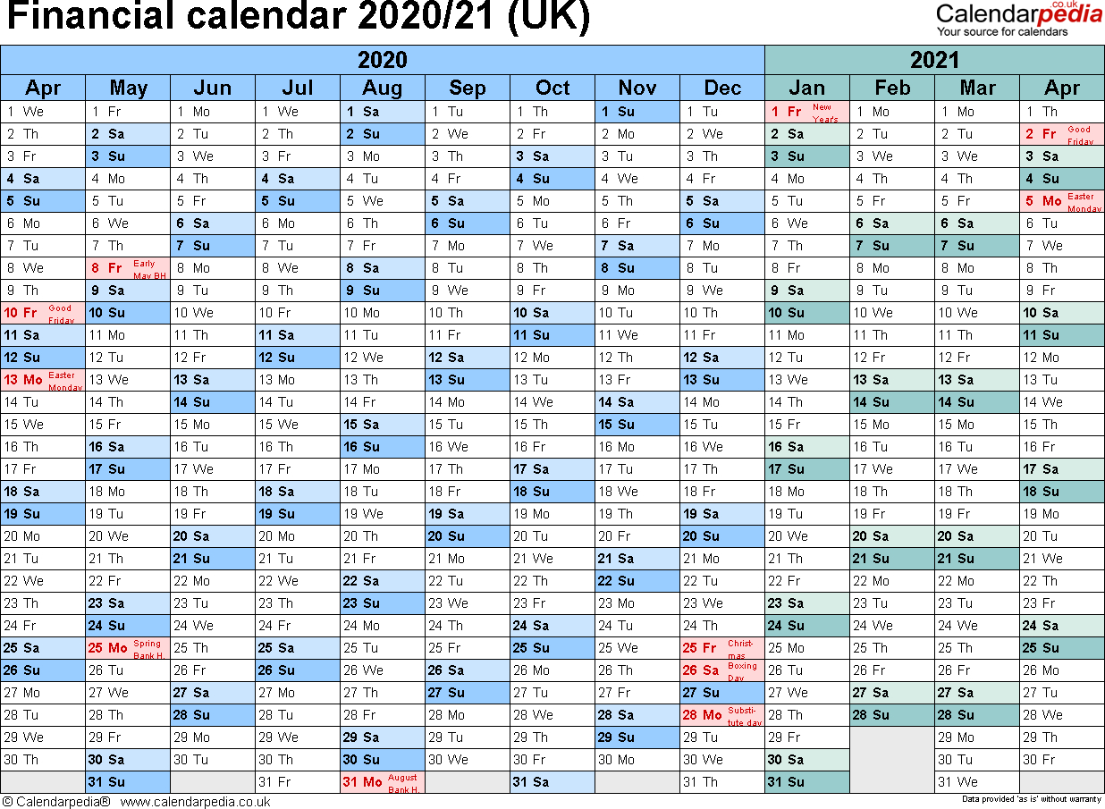 Financial Calendars 2020/21 (Uk) In Pdf Format intended for Hmrc Tax 2019 - 2020 Calendars