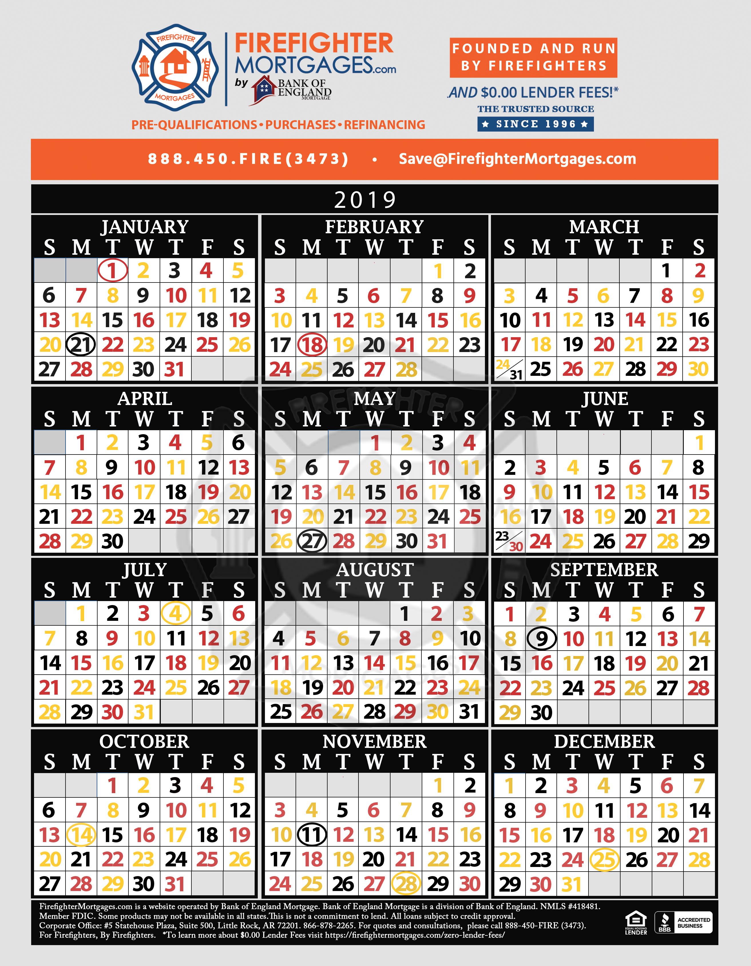 Firefighter Shift Calendar, Firefighter Calendar, Firefighter Calendars intended for Free Shift 2020 Shift Calendar