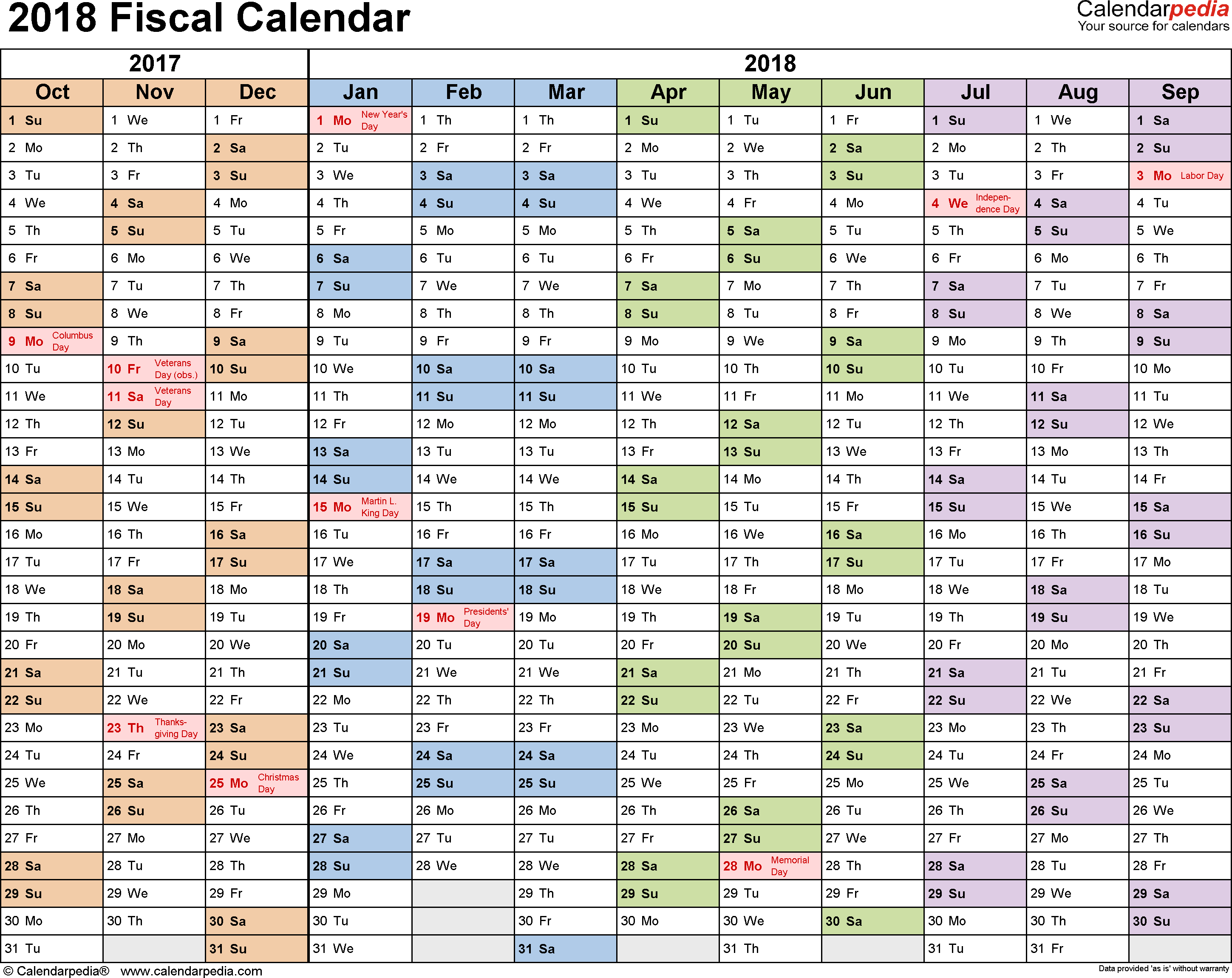 Fiscal Calendars 2018 As Free Printable Excel Templates in Free/fiscal Year Calendar Template