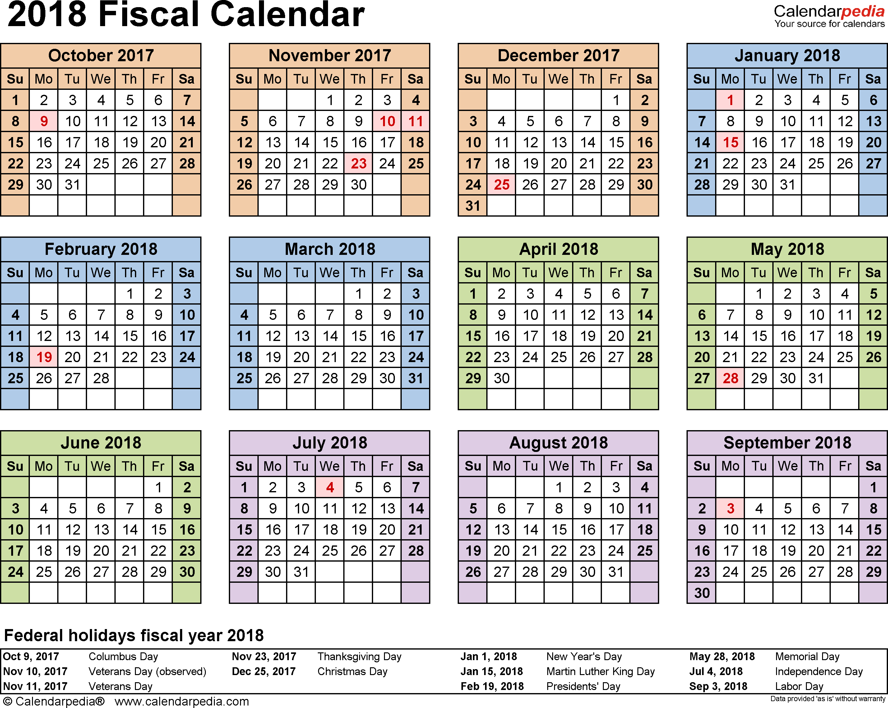 Fiscal Calendars 2018 As Free Printable Excel Templates with regard to Free/fiscal Year Calendar Template