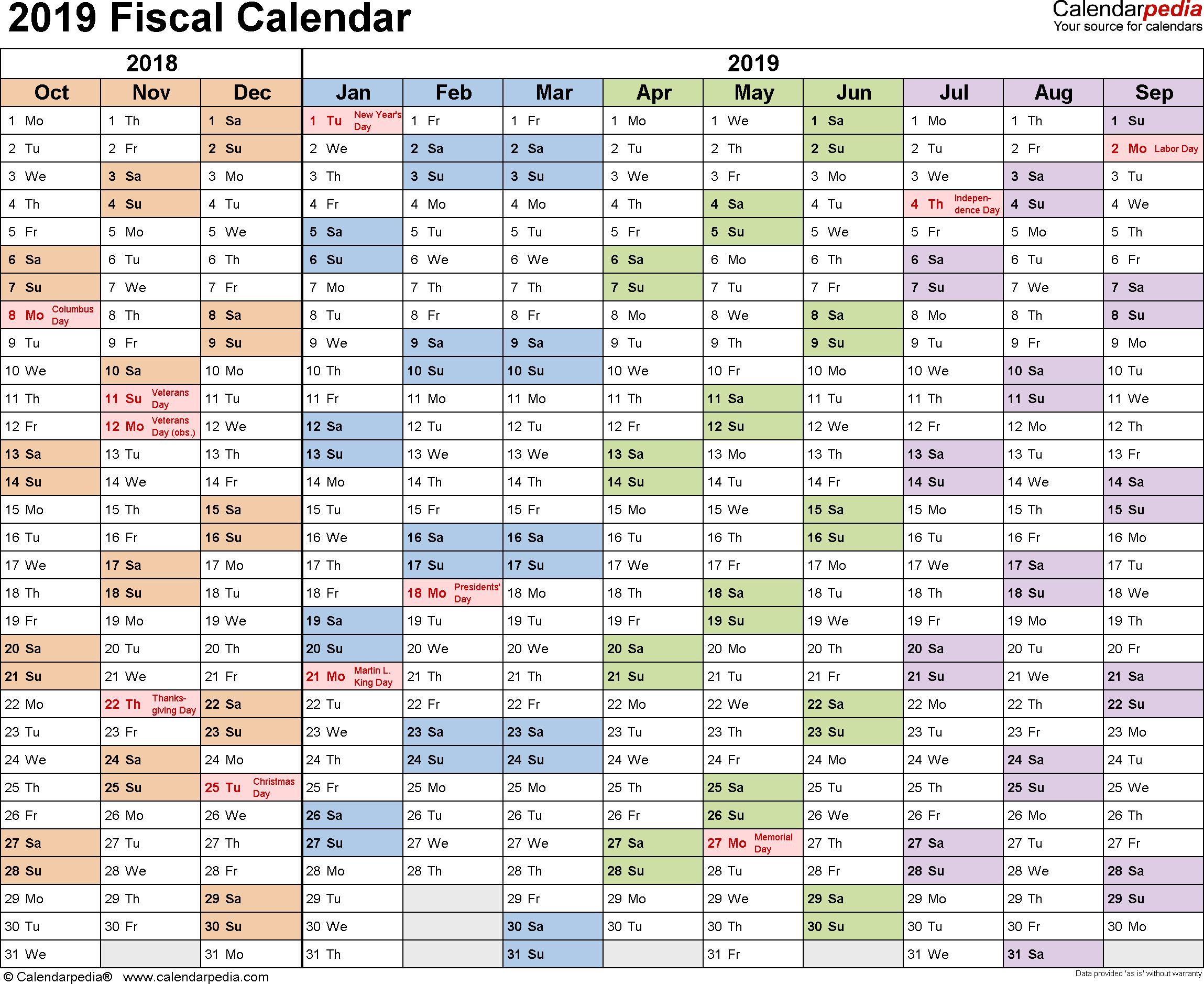Fiscal Calendars 2019 As Free Printable Pdf Templates inside 2019-2020 Calendar Financial Week Numbers