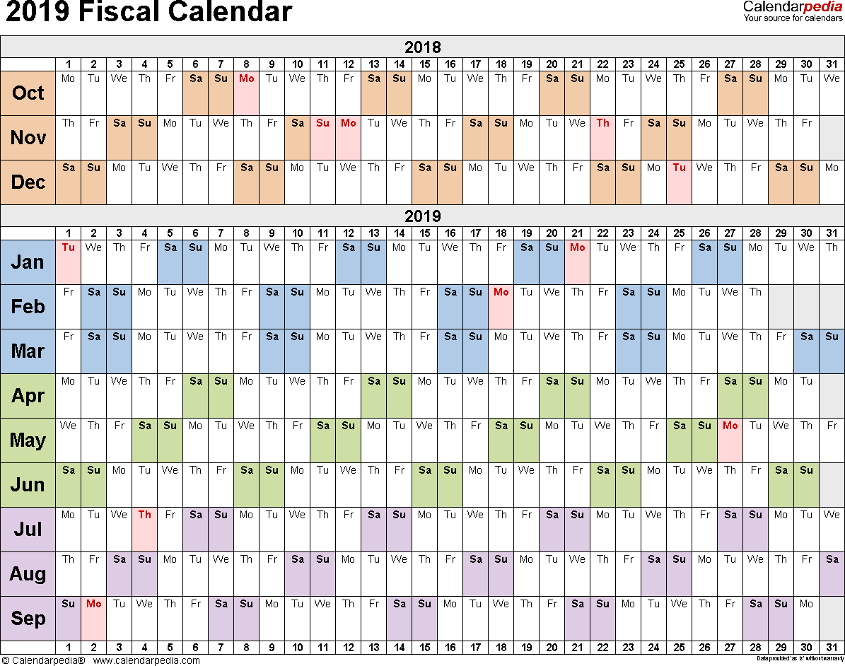 Fiscal Calendars 2019 As Free Printable Pdf Templates inside Financial Calendar 2019/2020 With Week Numbers