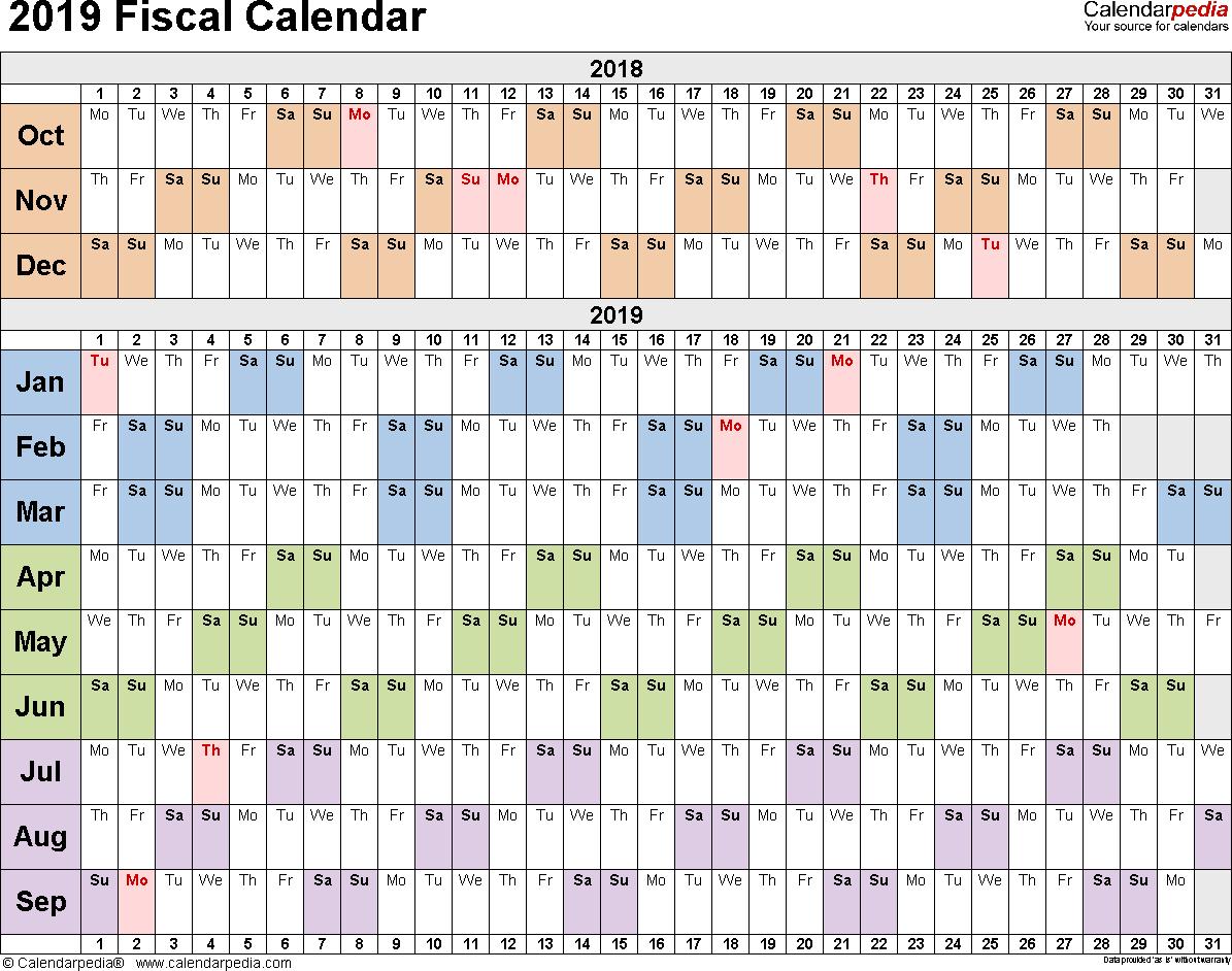 Fiscal Calendars 2019 As Free Printable Pdf Templates regarding 2019-2020 Calendar Financial Week Numbers