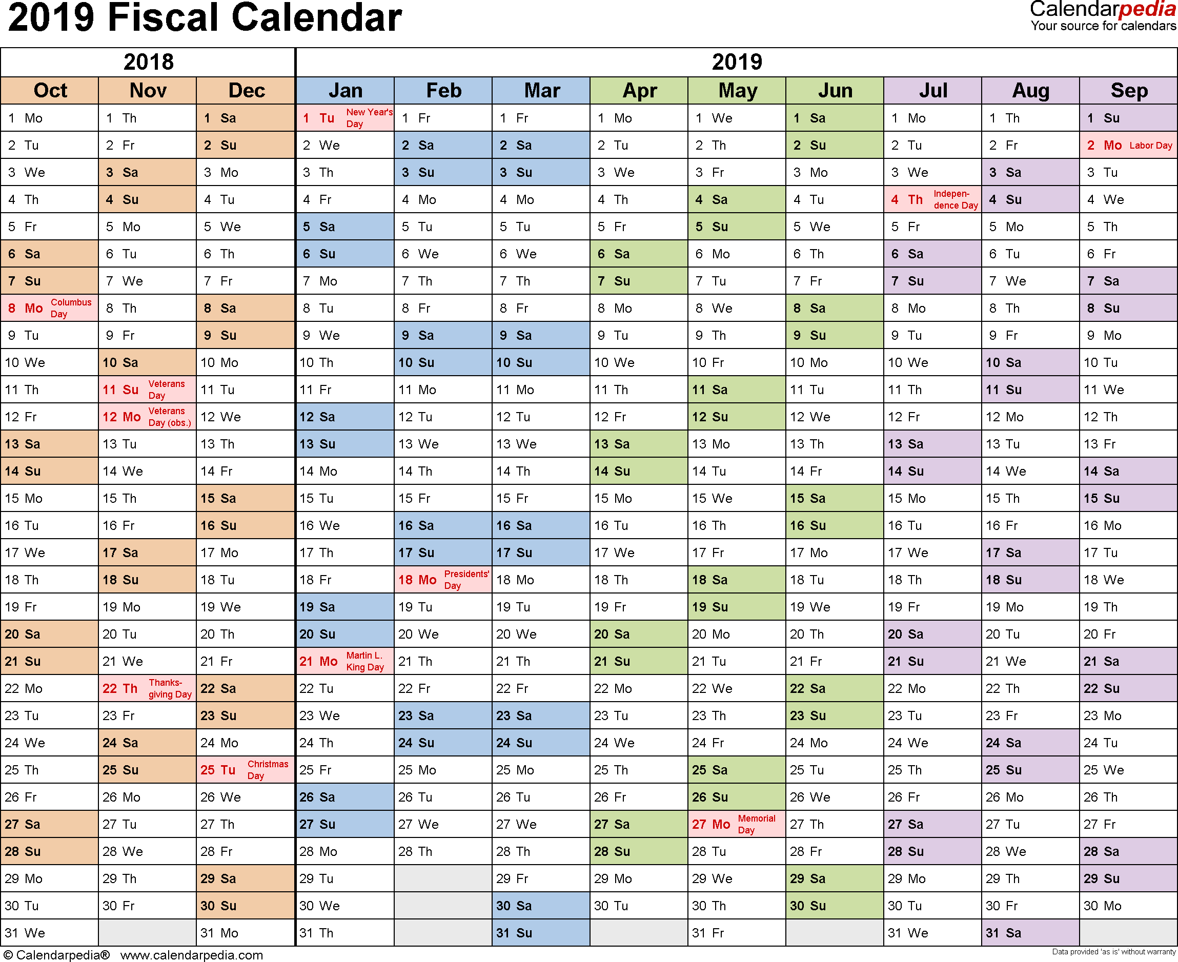 Fiscal Calendars 2019 As Free Printable Pdf Templates with regard to Financial Calendar 2019/2020 With Week Numbers