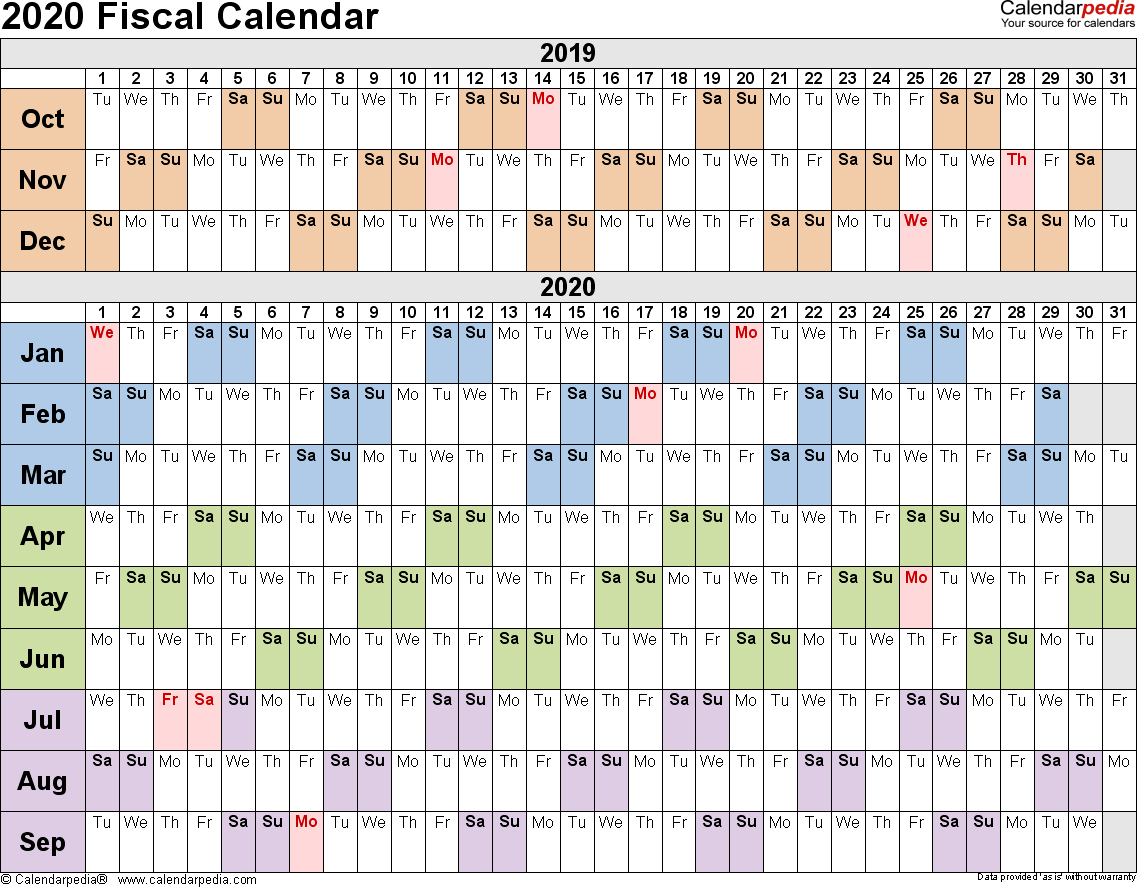Fiscal Calendars 2020 As Free Printable Pdf Templates with 2019-2020Tax Calendar Month And Week