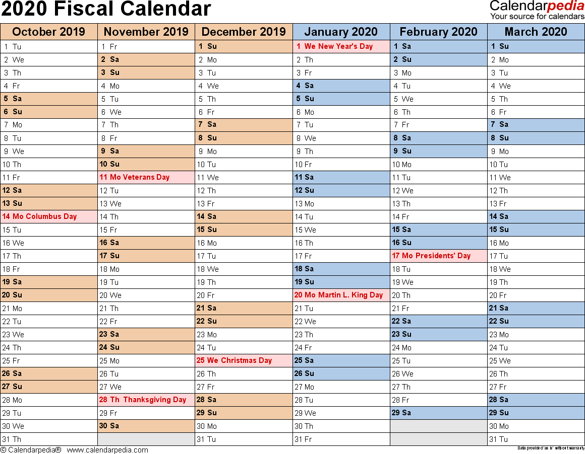 Fiscal Calendars 2020 As Free Printable Pdf Templates with regard to Financial Calendar 2019/2020 With Week Numbers