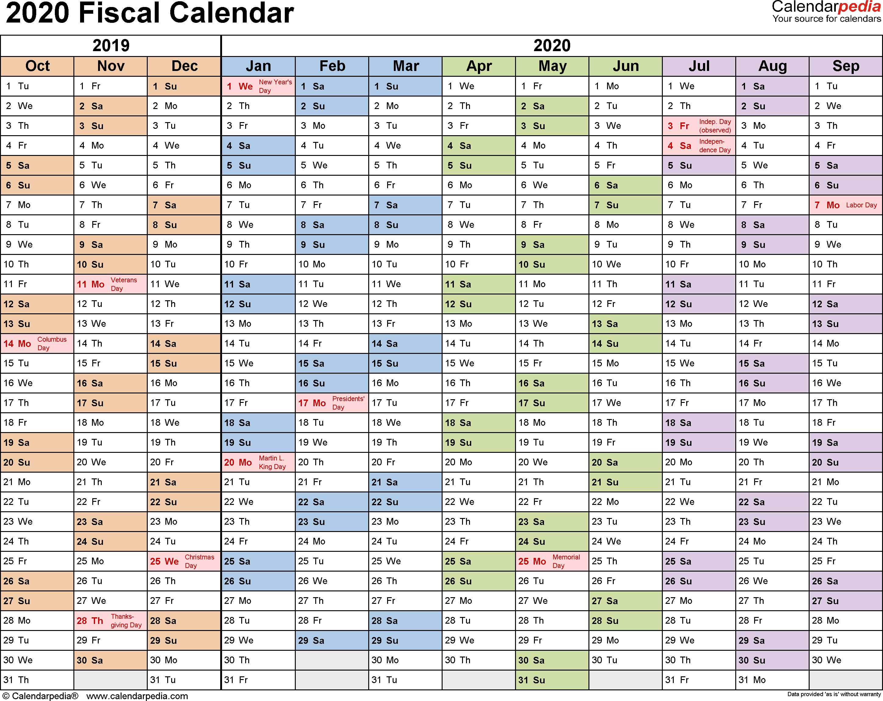 Fiscal Calendars 2020 As Free Printable Pdf Templates within Financial Calendar 2019/2020 With Week Numbers