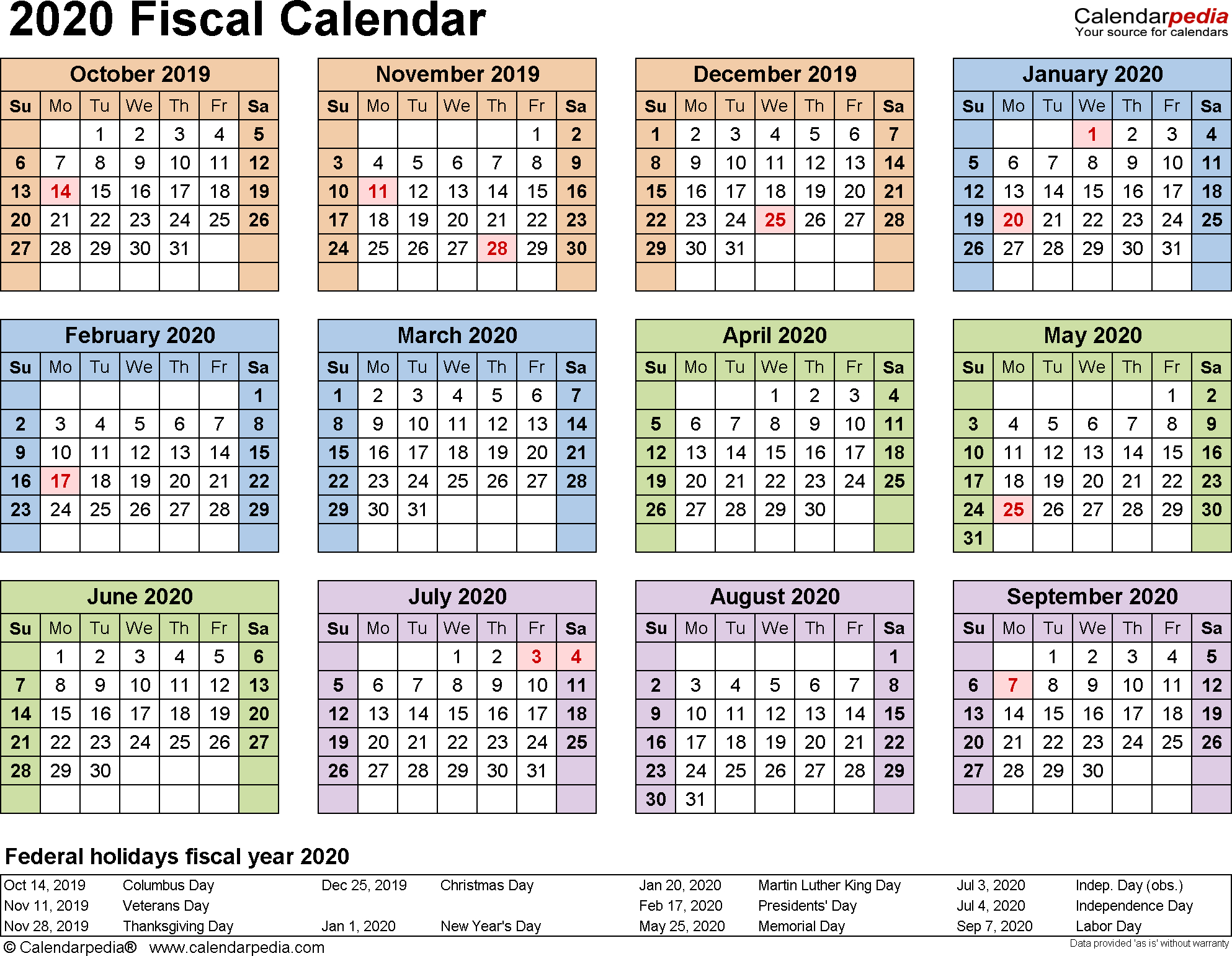 Fiscal Calendars 2020 As Free Printable Word Templates throughout Printable Year At Glance Calendar For 2020