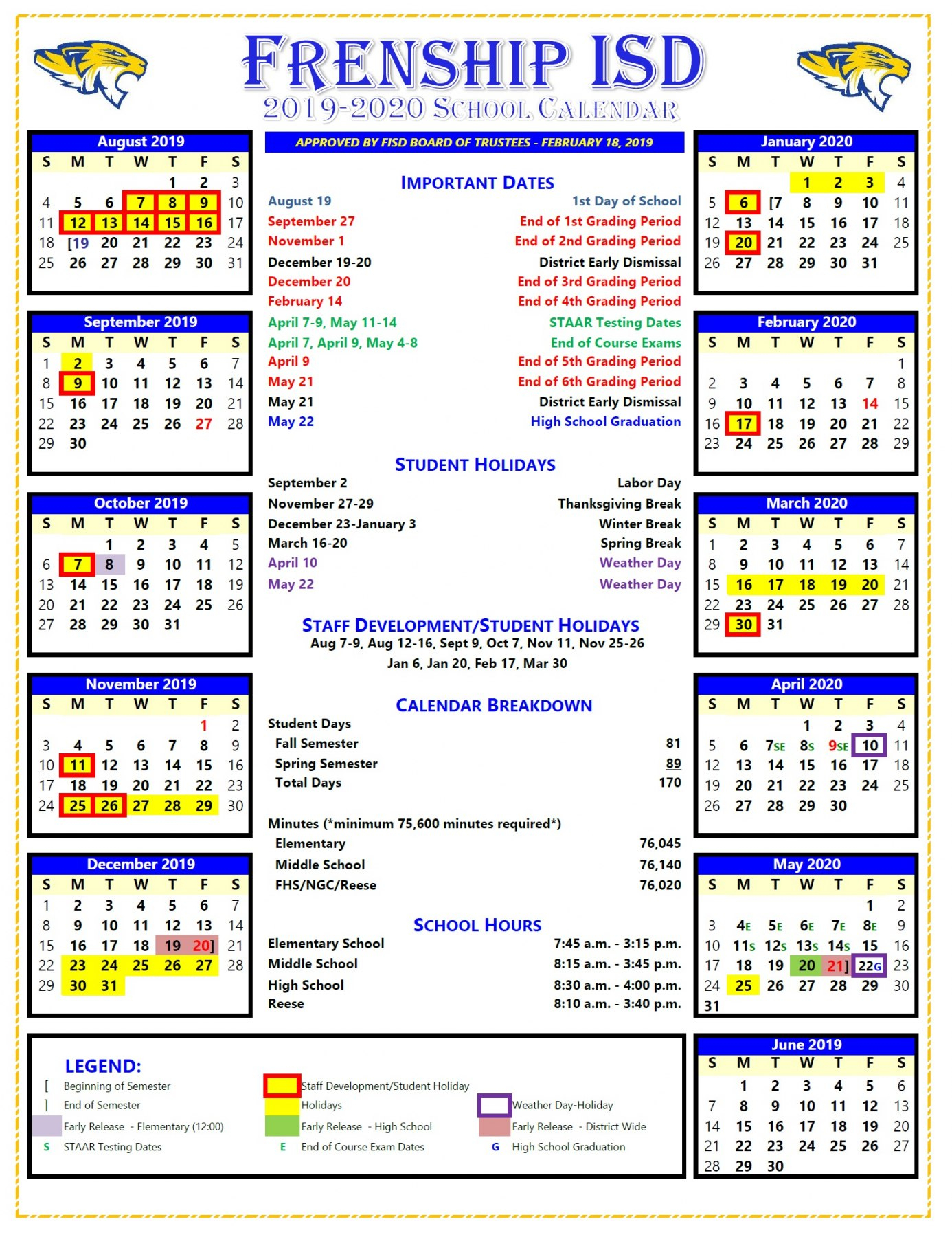 Fisd Board Approves 2019-2020 School Calendar pertaining to Calender Of Special Days 2020