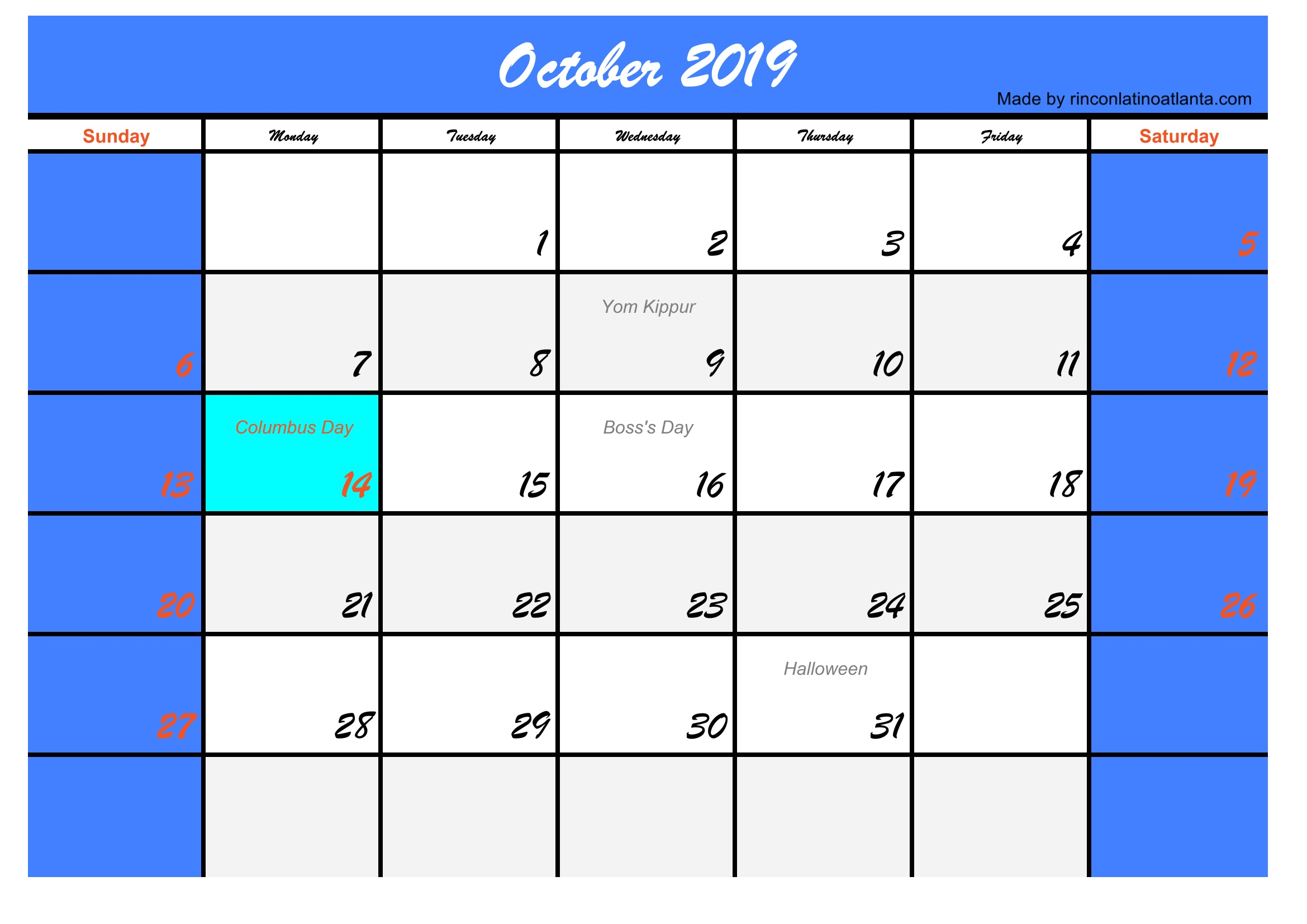 Five October 2019 Calendar With Holidays Usa | Calendar Template inside Free Printable Scary October Calendar 2019