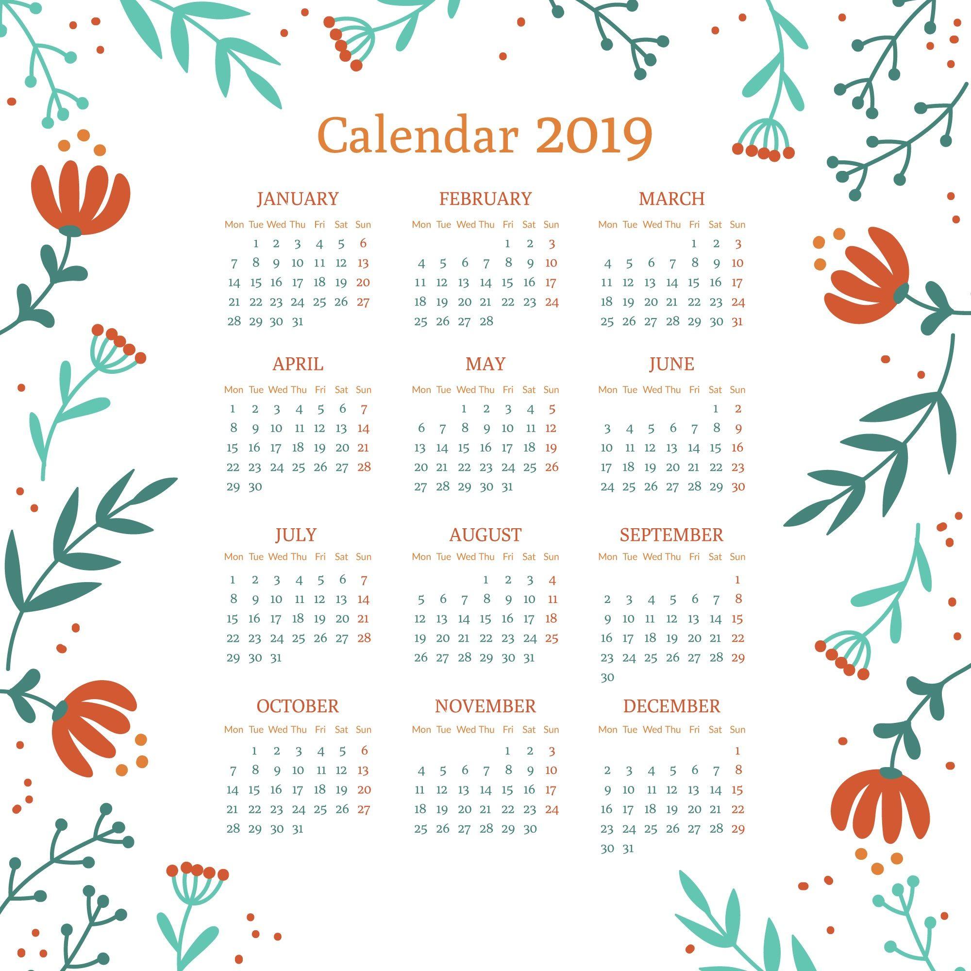 Floral 2019 Printable Calendar #2019Calendar #printablecalendar throughout Cute Yearly Calendar Template