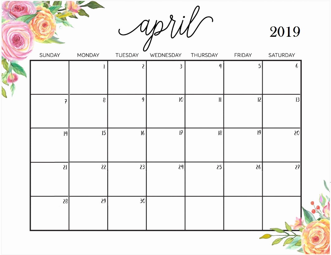 Floral April 2019 Wall Calendar - Printable Calendar 2019| Blank regarding Pretty Calendar Template Printable March