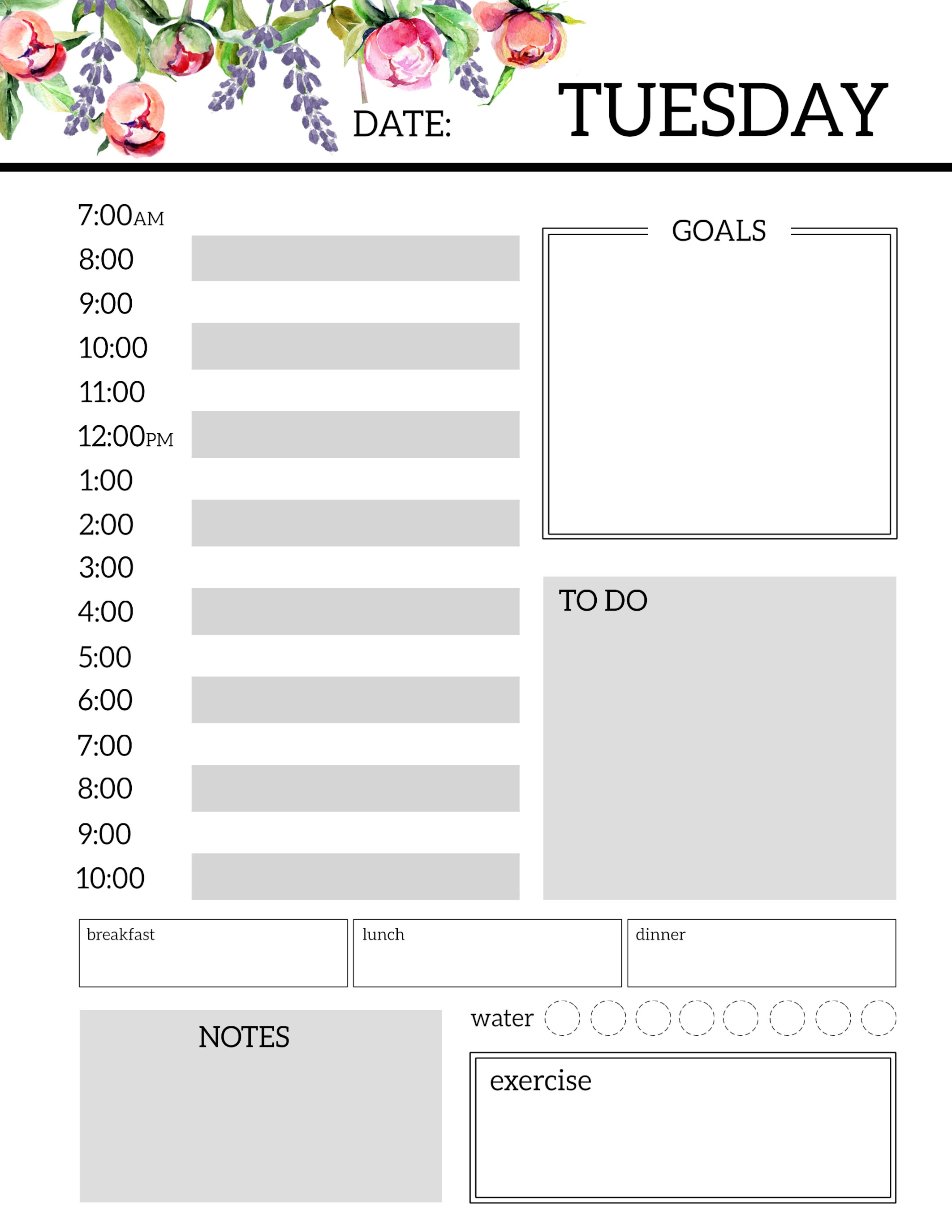 Floral Free Printable Daily Planner Template Sheets - Paper Trail Design with Free Printable Day Planner Templates